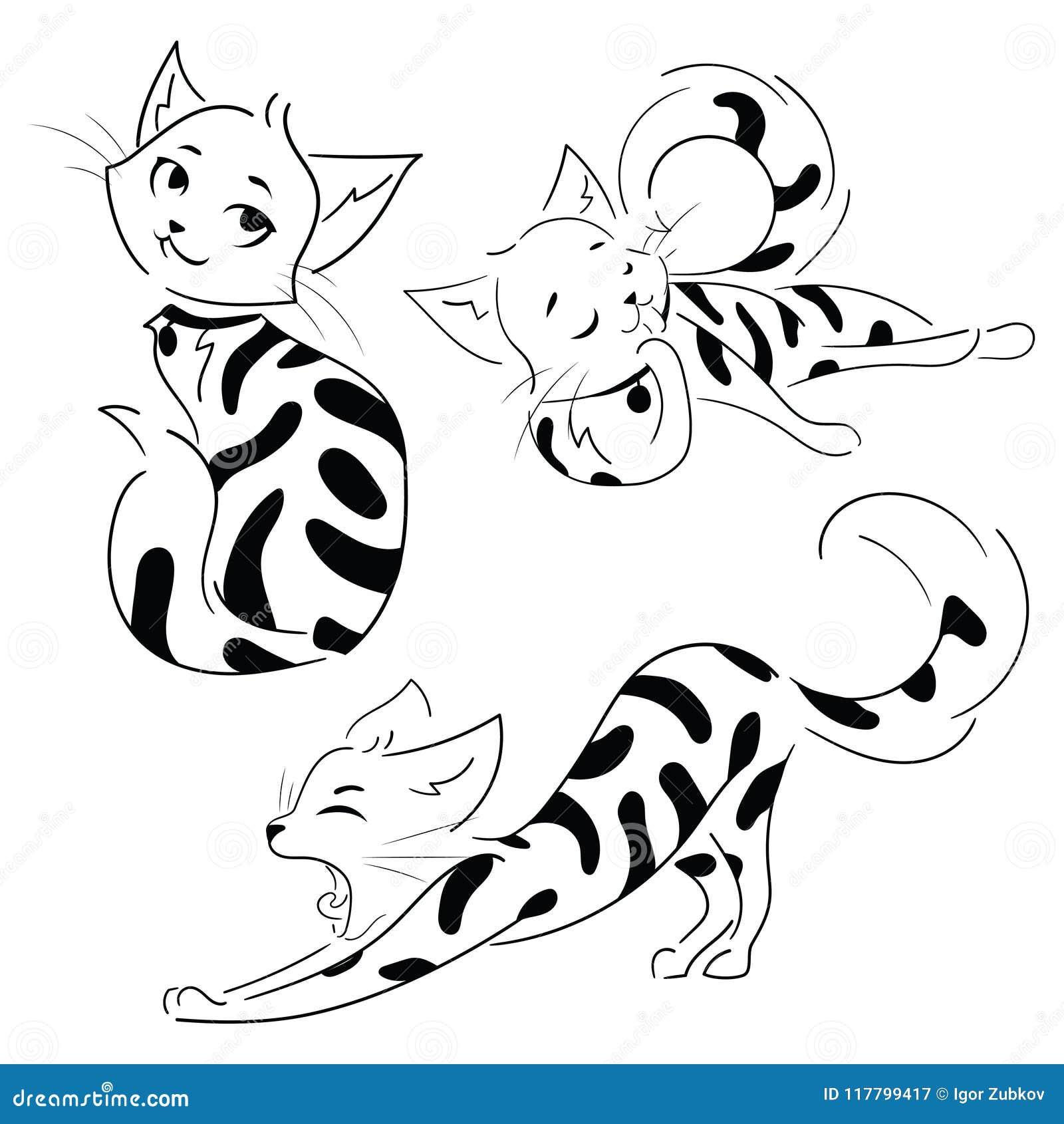 Conjunto De Gatos De La Historieta Colección De Gatitos Manchados
