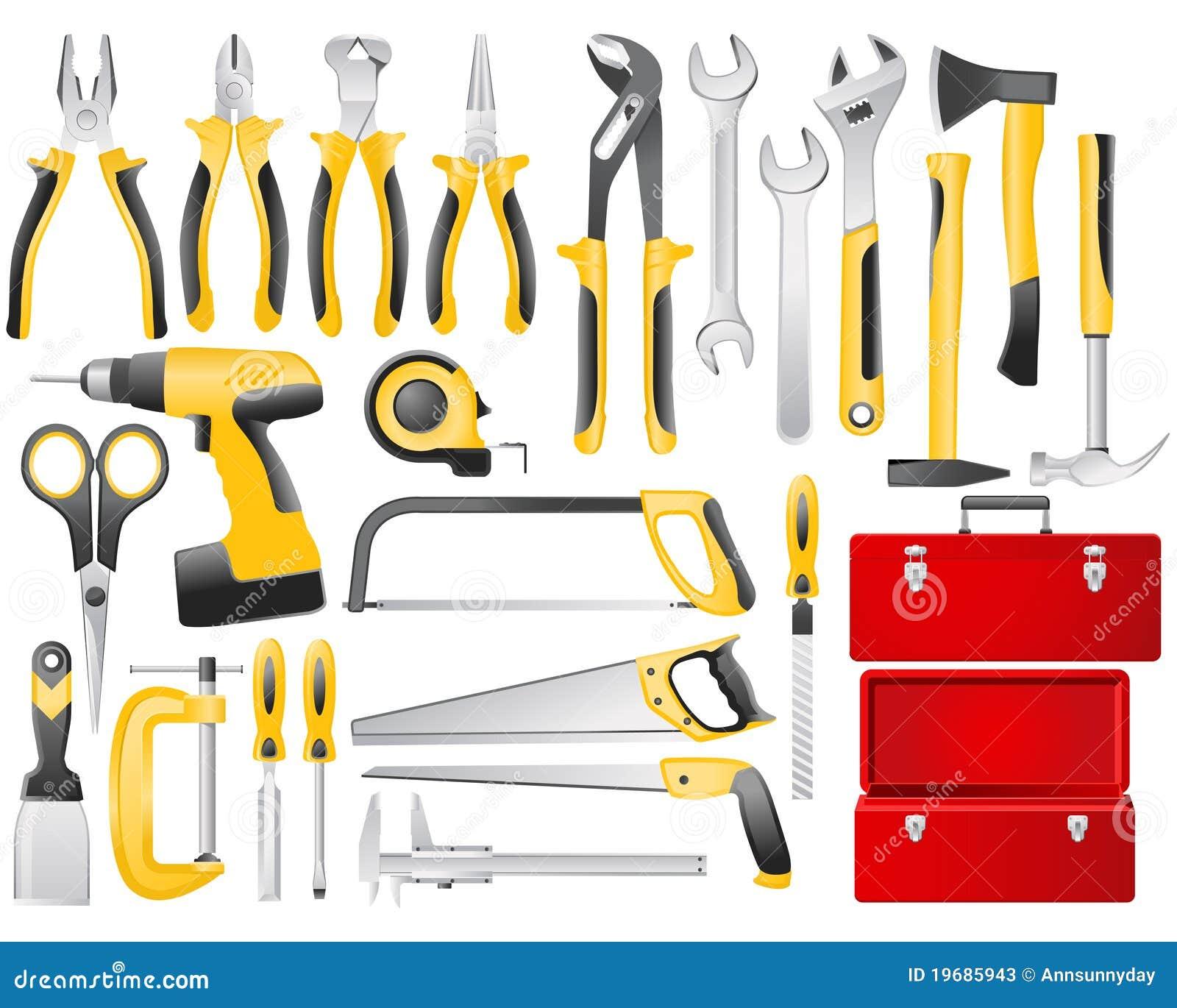 Conjunto de herramientas del trabajo de mano fotos de - Herramientas de mano ...