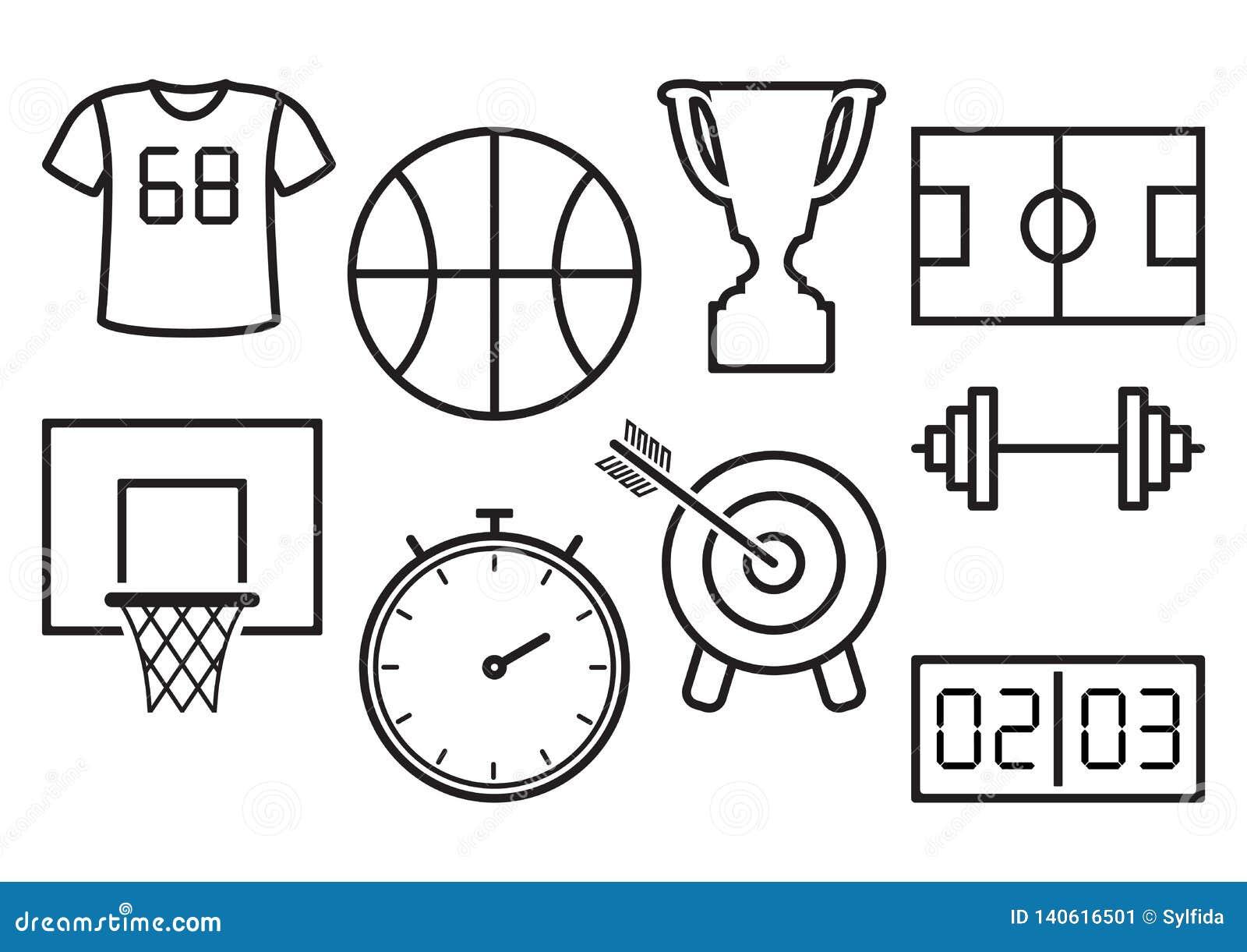 Conjunto de iconos del deporte Ilustración del vector
