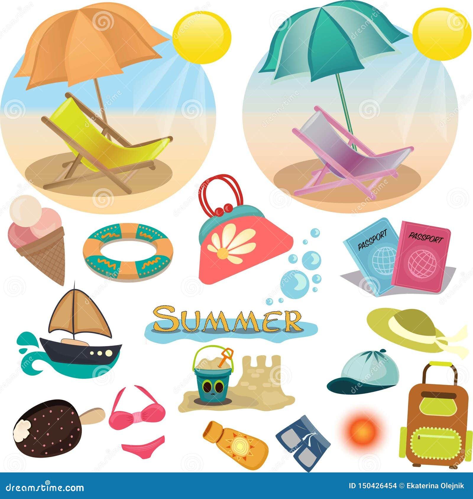 Conjunto de iconos del verano Vacaciones en vector
