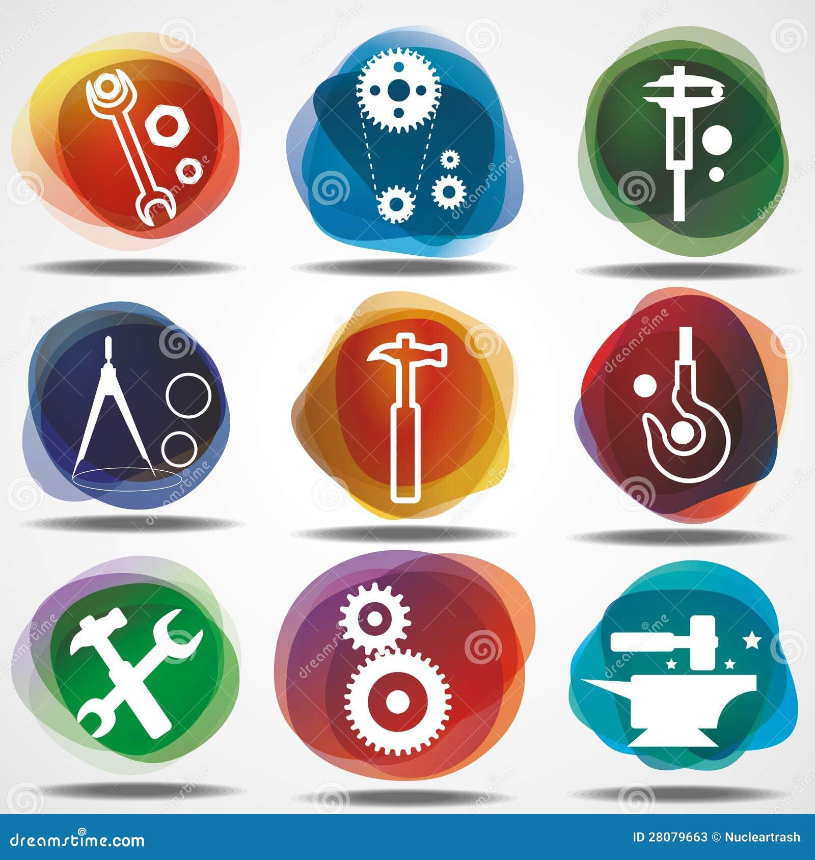 Conjunto de iconos mecánicos.