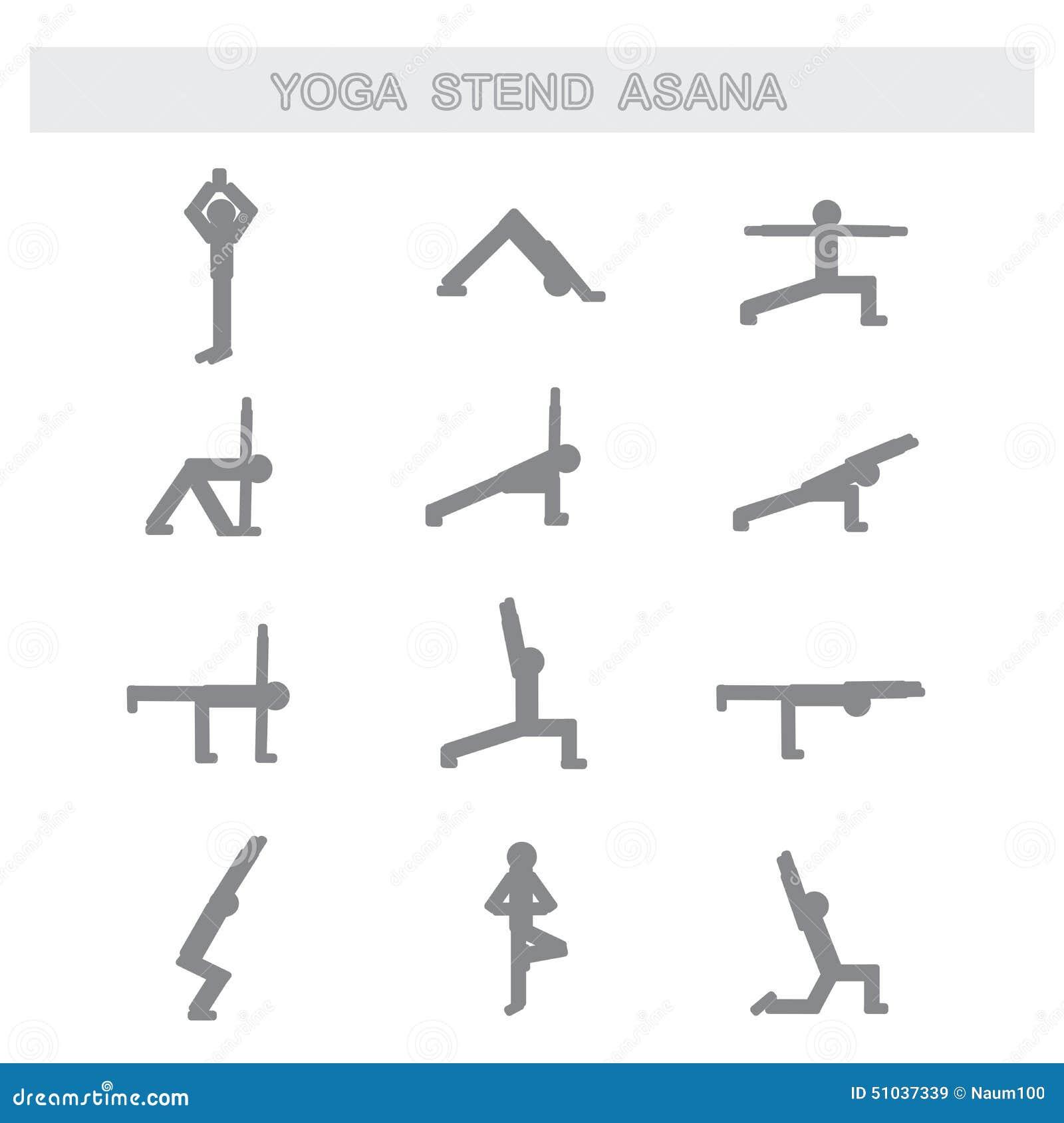 Conjunto De Iconos Presenta Asanas De La Yoga Ilustración del Vector ... 0a3b295a35be