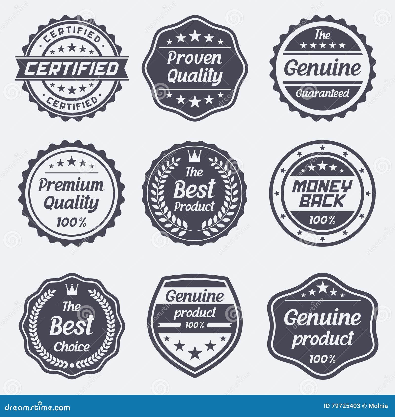 Conjunto de insignias y de escrituras de la etiqueta retras del vintage