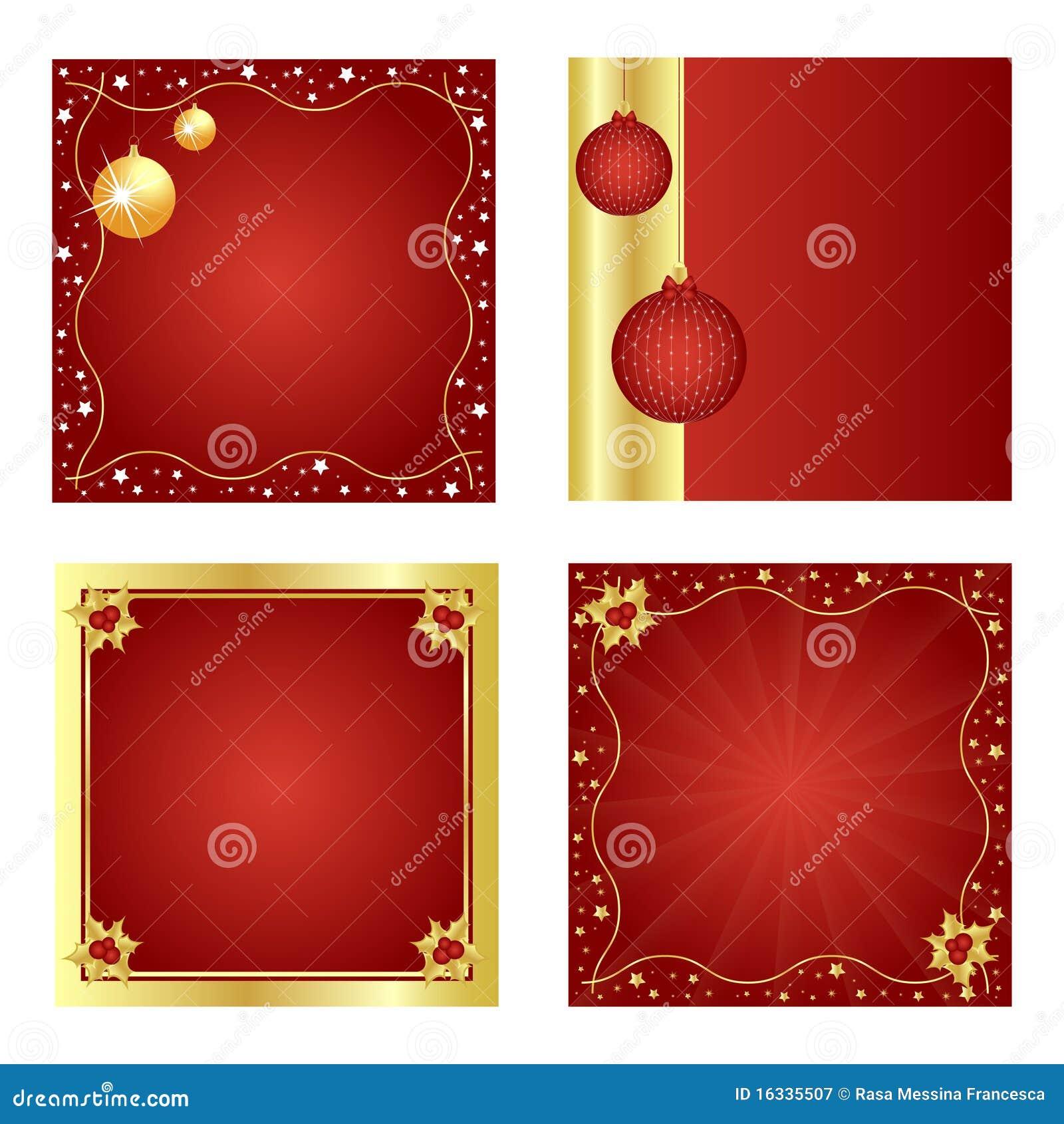 Conjunto de la Navidad fondo-rojo y de oro