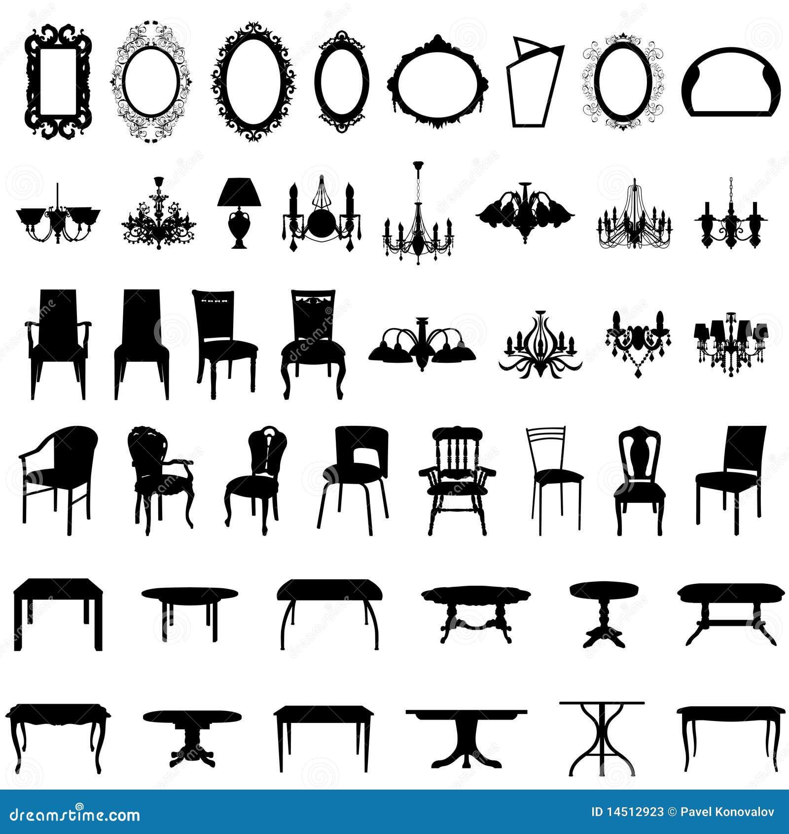 Conjunto de la silueta de los muebles