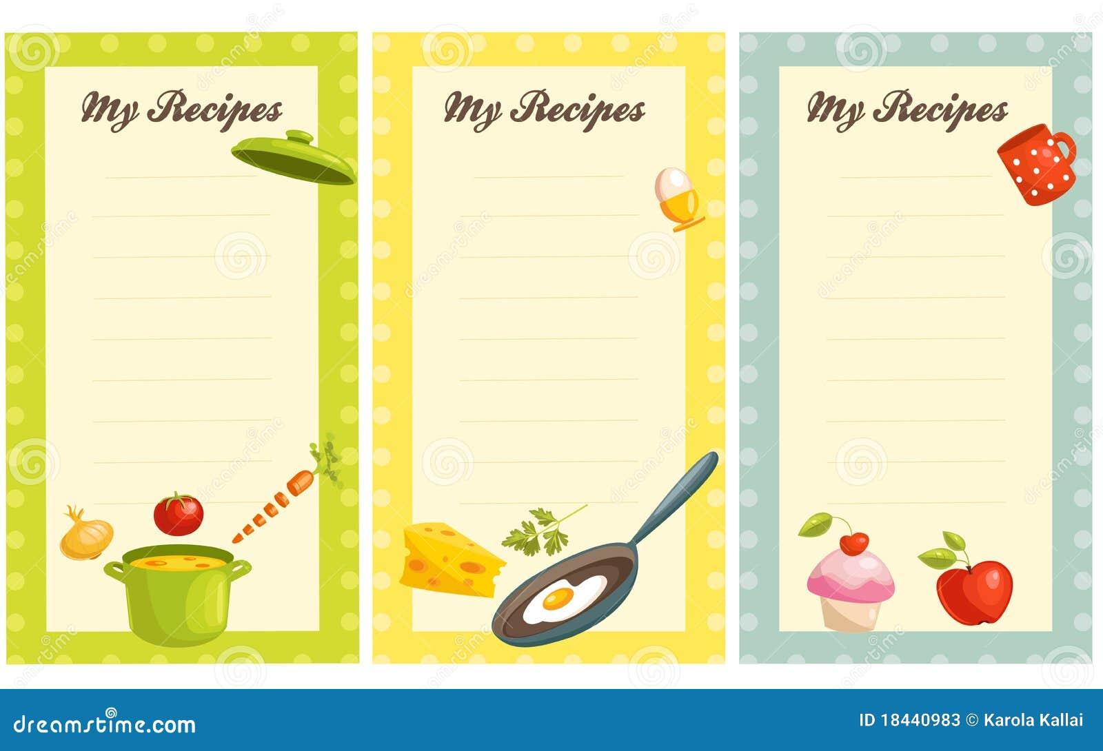 Conjunto de la tarjeta pasada de moda de la receta