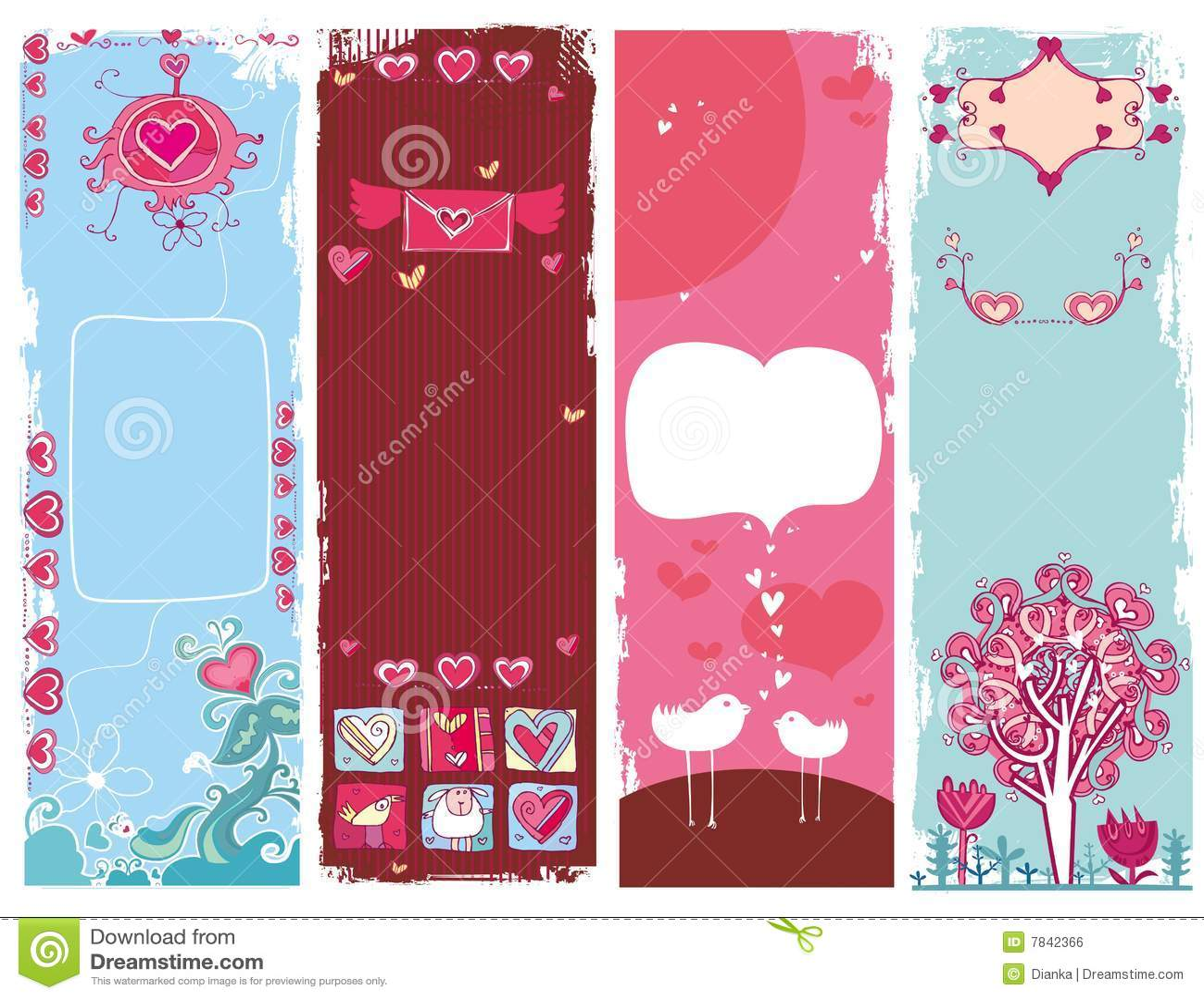 Conjunto de las banderas 1 del grunge del día de tarjeta del día de San Valentín