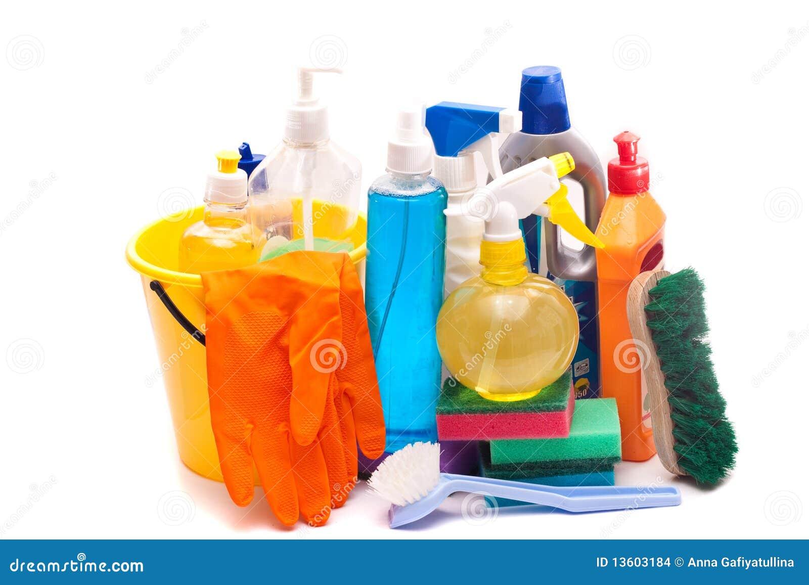 Conjunto de las herramientas para la limpieza