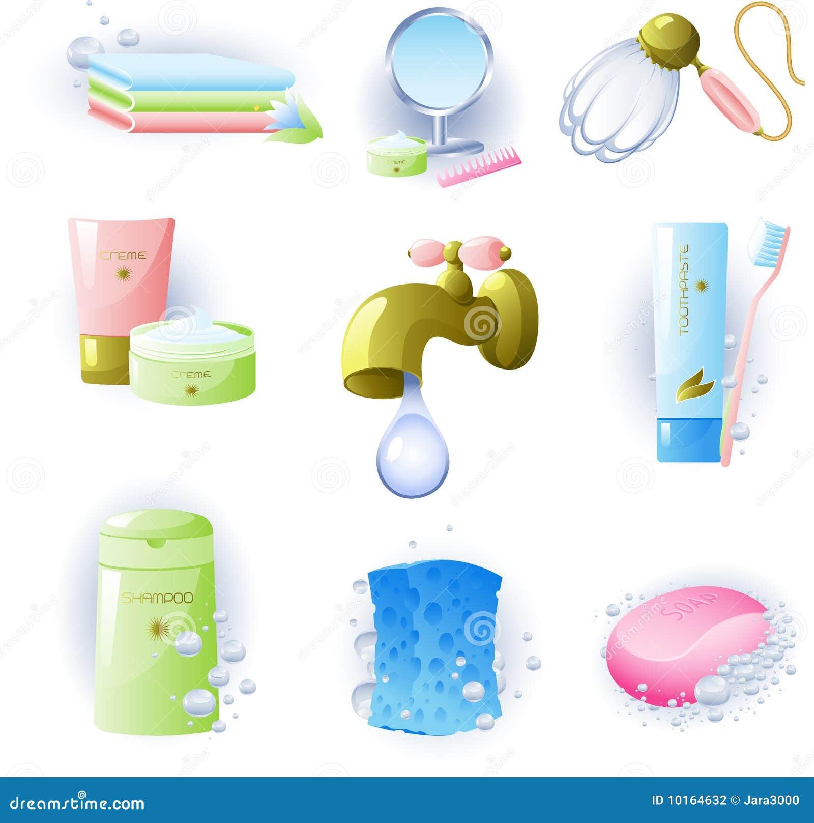 Conjunto de los accesorios para la higiene personal for Implementos para banos