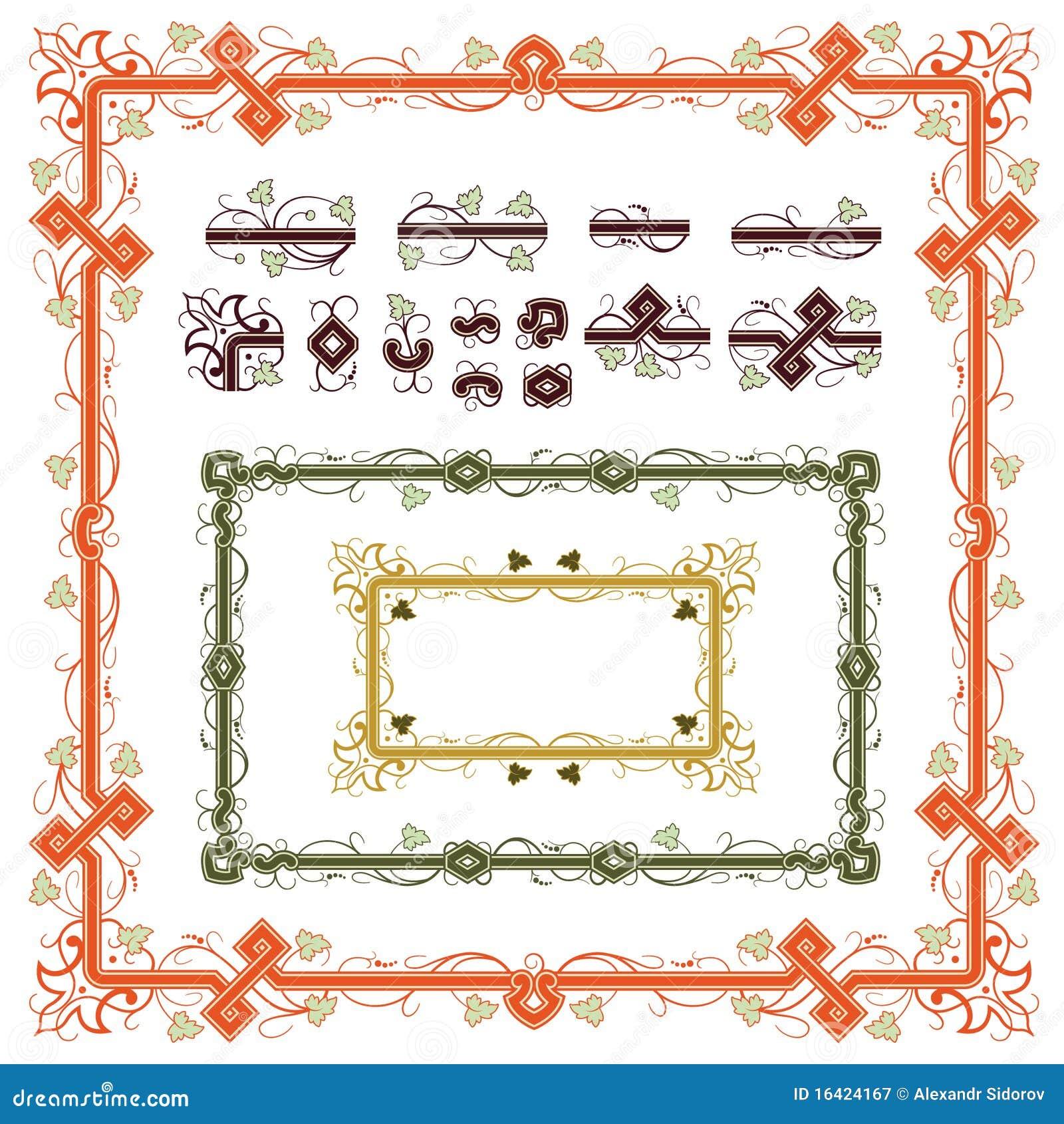 Conjunto de los elementos de las plantas para el diseño