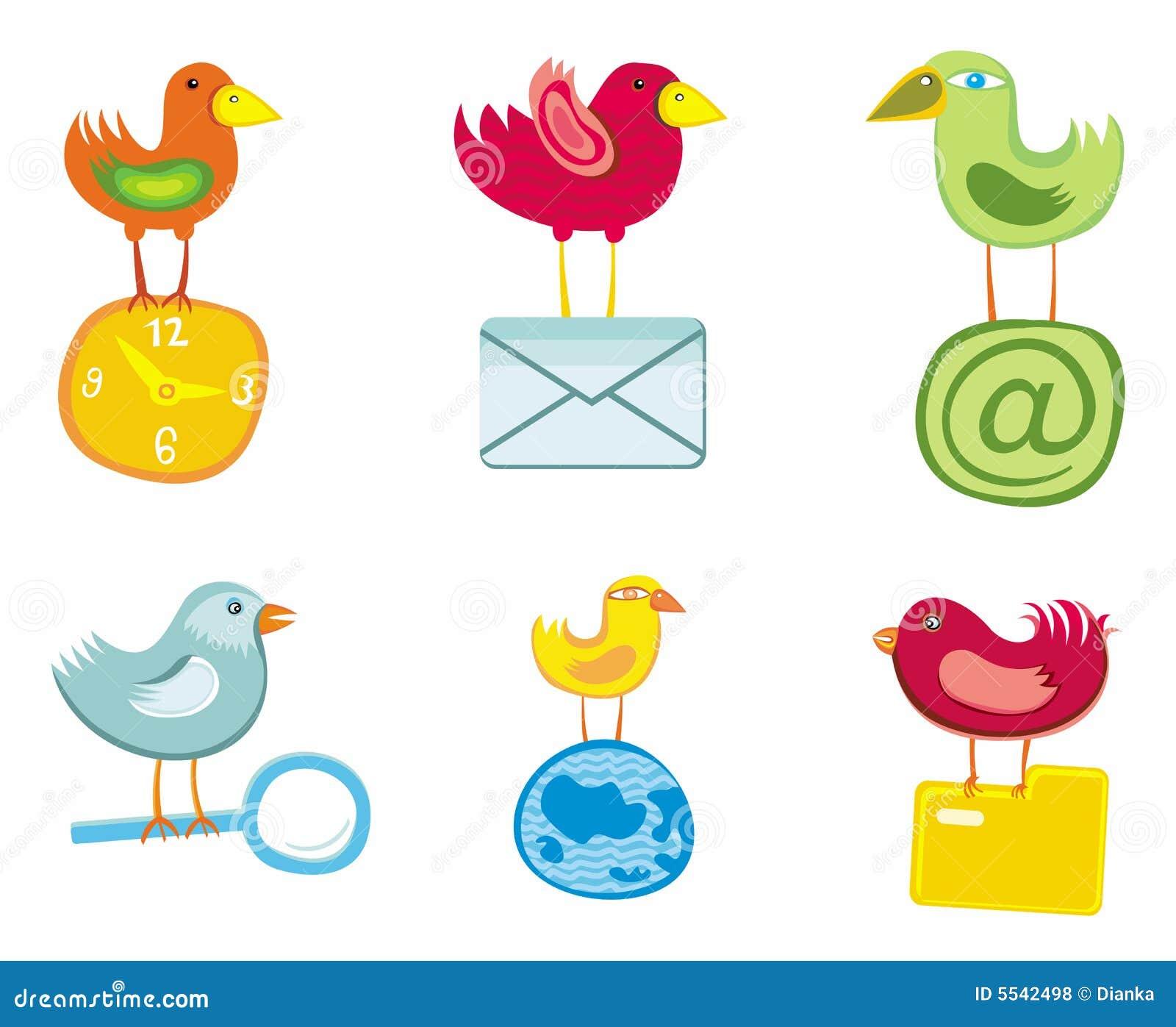 Conjunto de los iconos de los pájaros para el Web site