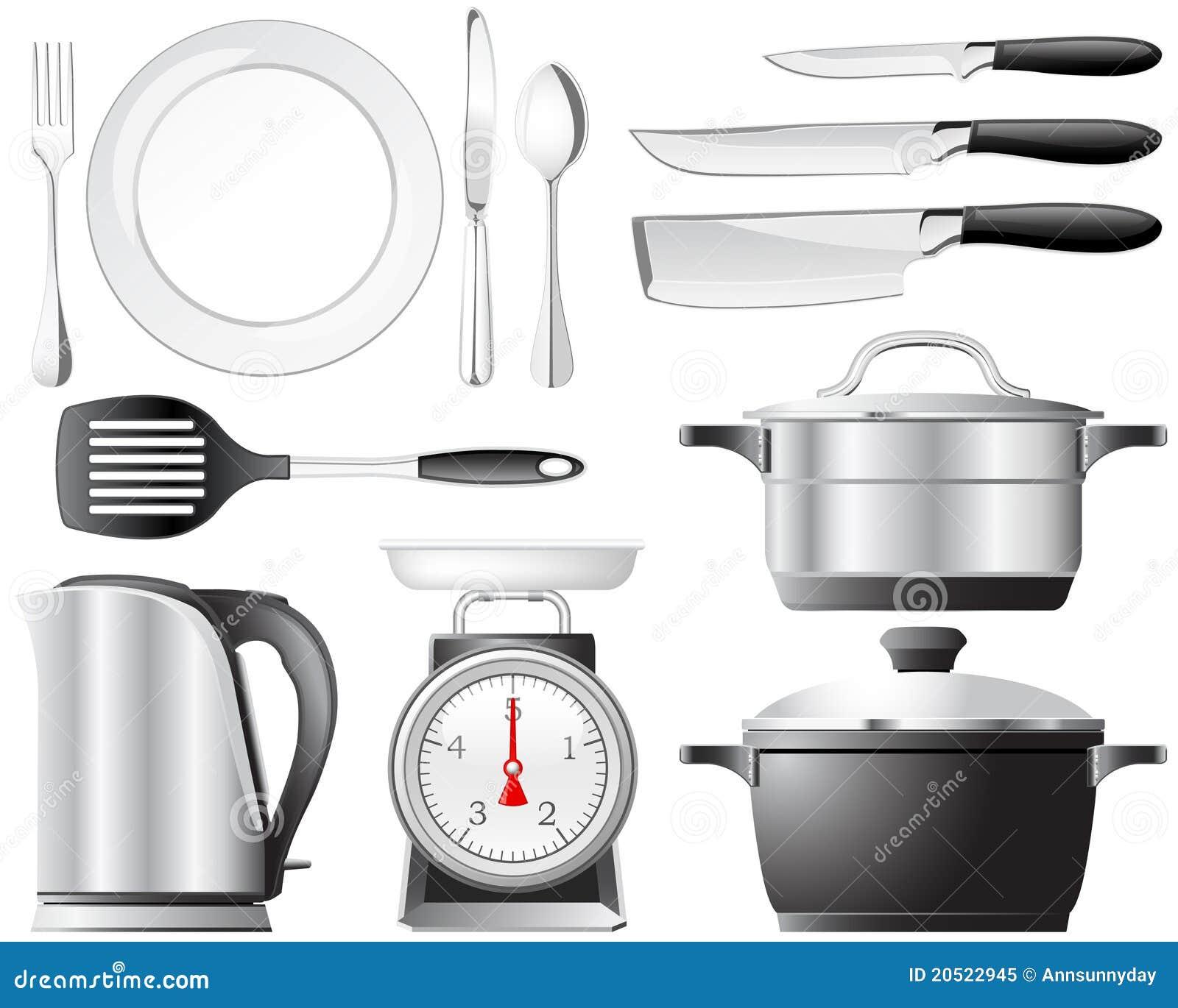 Conjunto de los utensilios de cocina foto de archivo libre - Utensilios de cocina de diseno ...