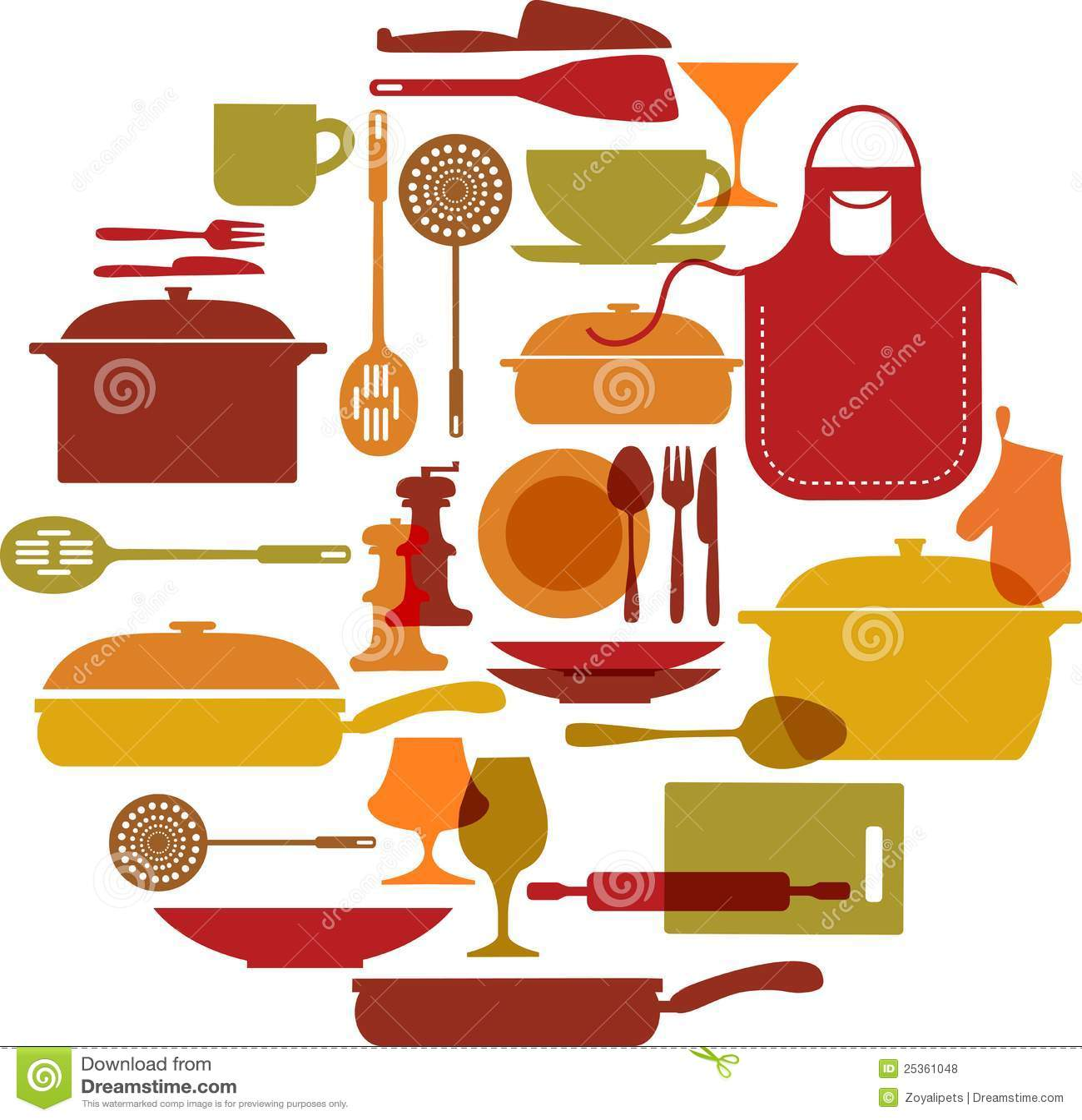 Conjunto de los utensilios de cocina stock de ilustraci n for Utensilios de cocina nombres e imagenes