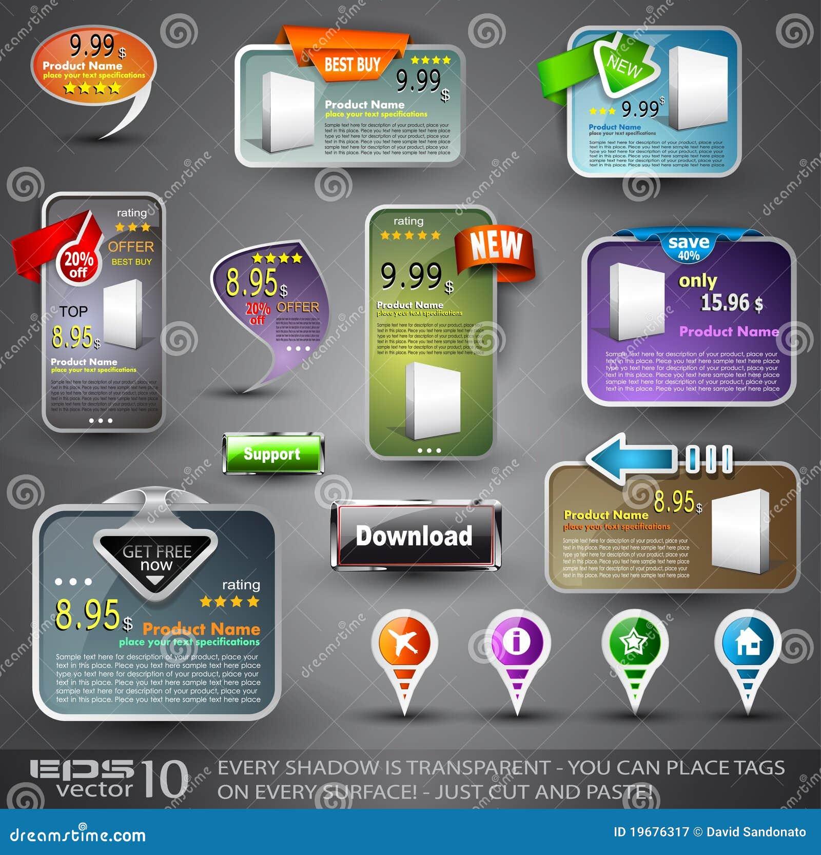 Conjunto de los varios elementos del diseño para el Web