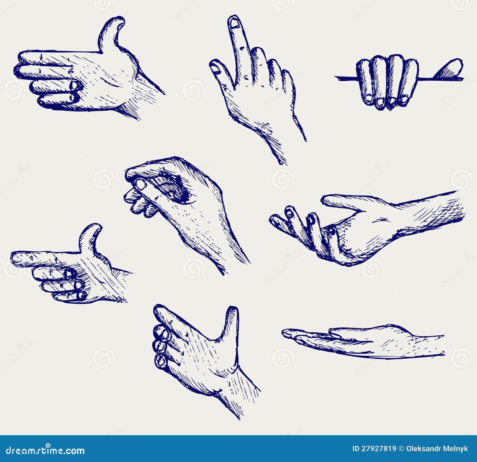Conjunto de muchas diversas manos