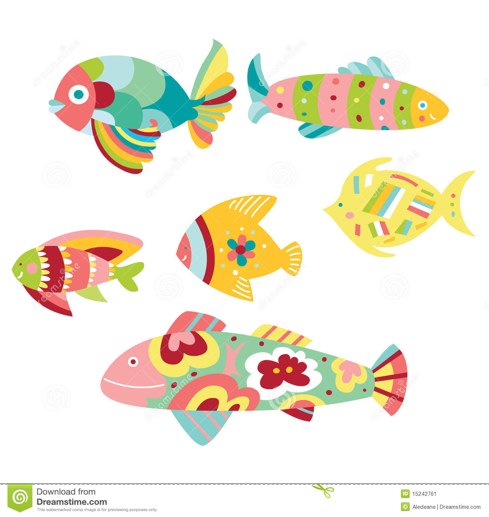 Conjunto de pescados decorativos