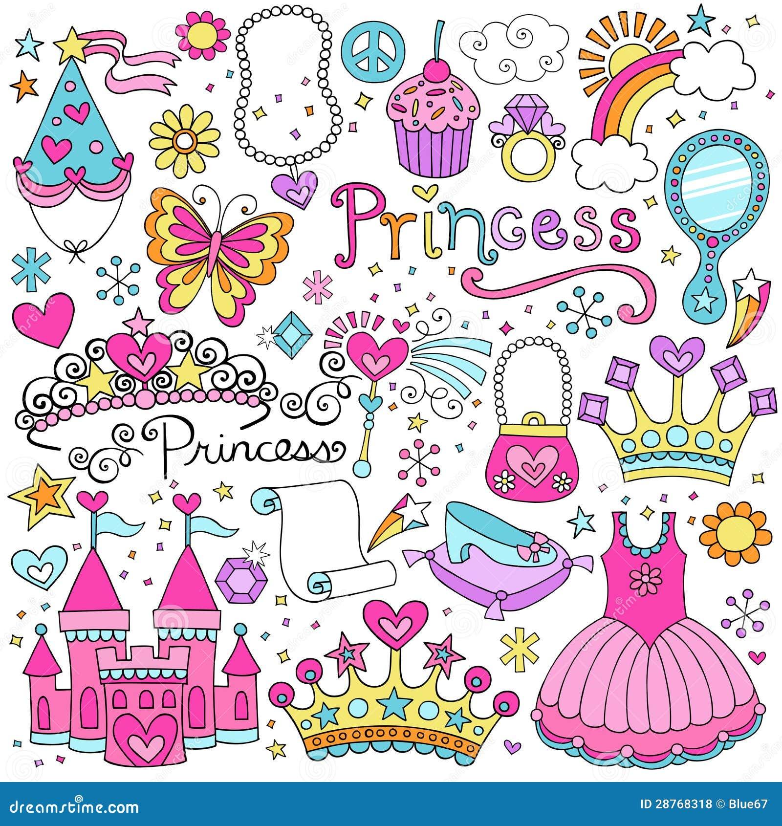 Conjunto de princesa Fairytale Tiara Vector Doodles