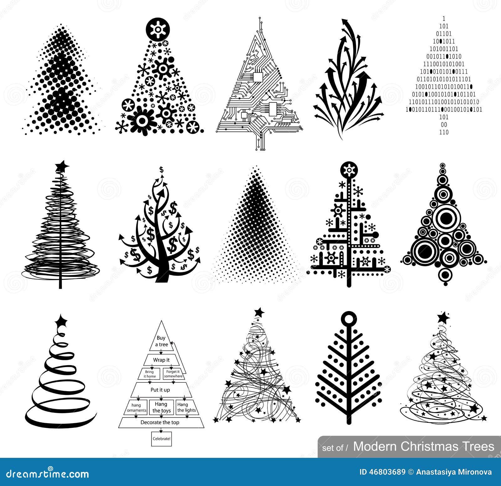 Conjunto de rboles de navidad modernos ilustraci n del - Arboles navidad modernos ...