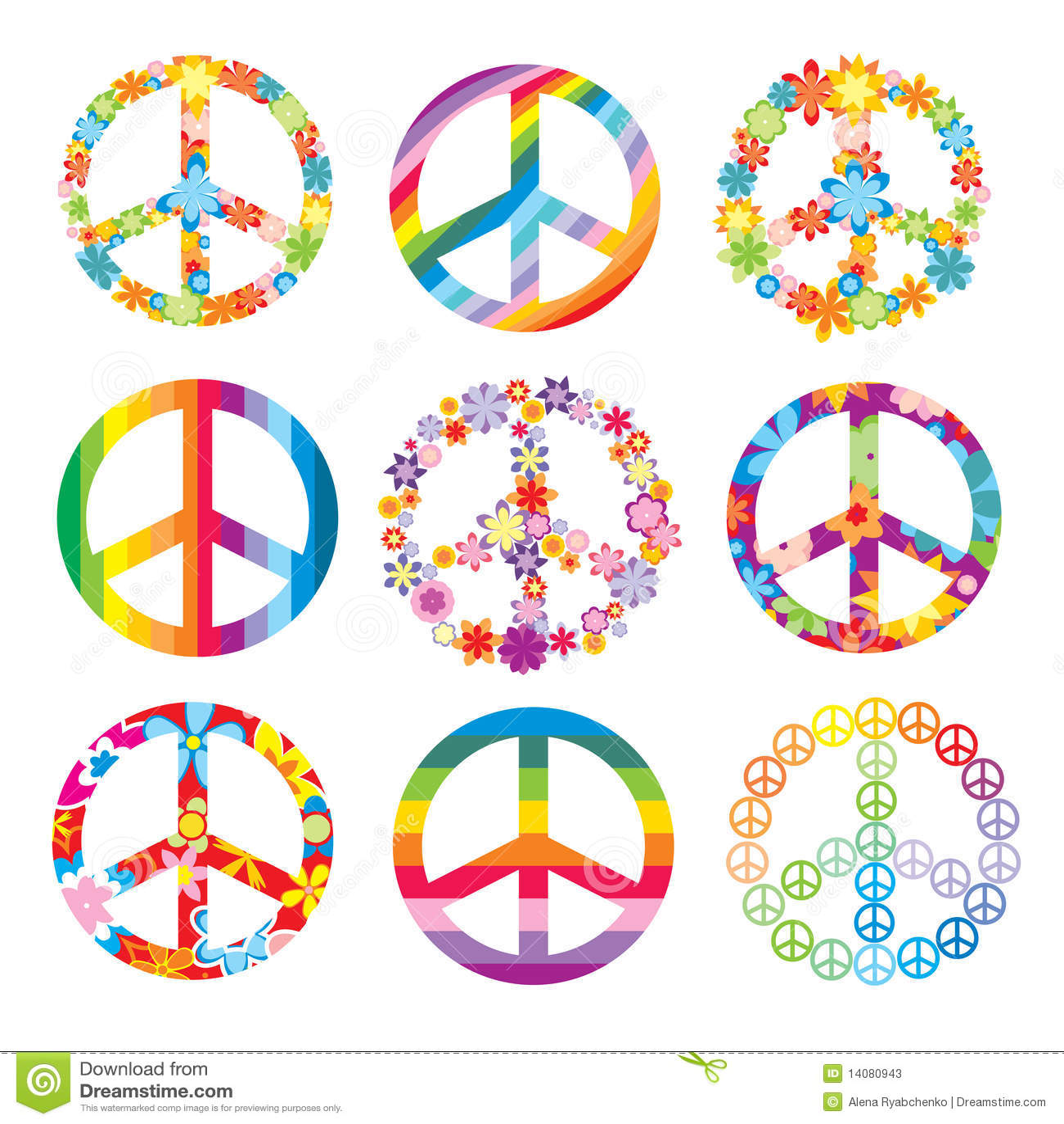 Conjunto De Símbolos De Paz Ilustración Del Vector Ilustración De