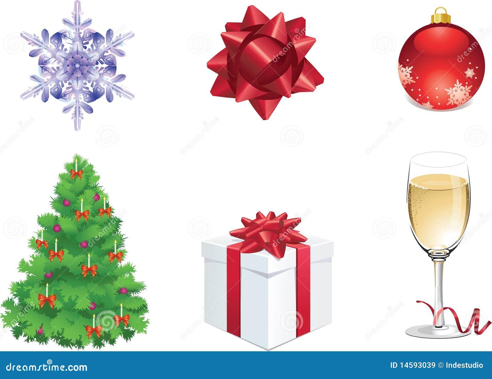 Conjunto de seis objetos coloridos de la navidad para el web im genes de archivo libres de - Objetos de navidad ...