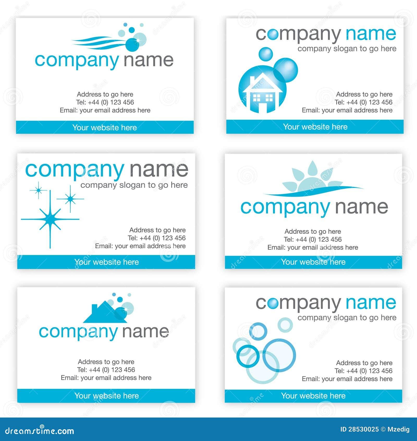 conjunto de seis tarjetas de visita de limpieza ilustración del
