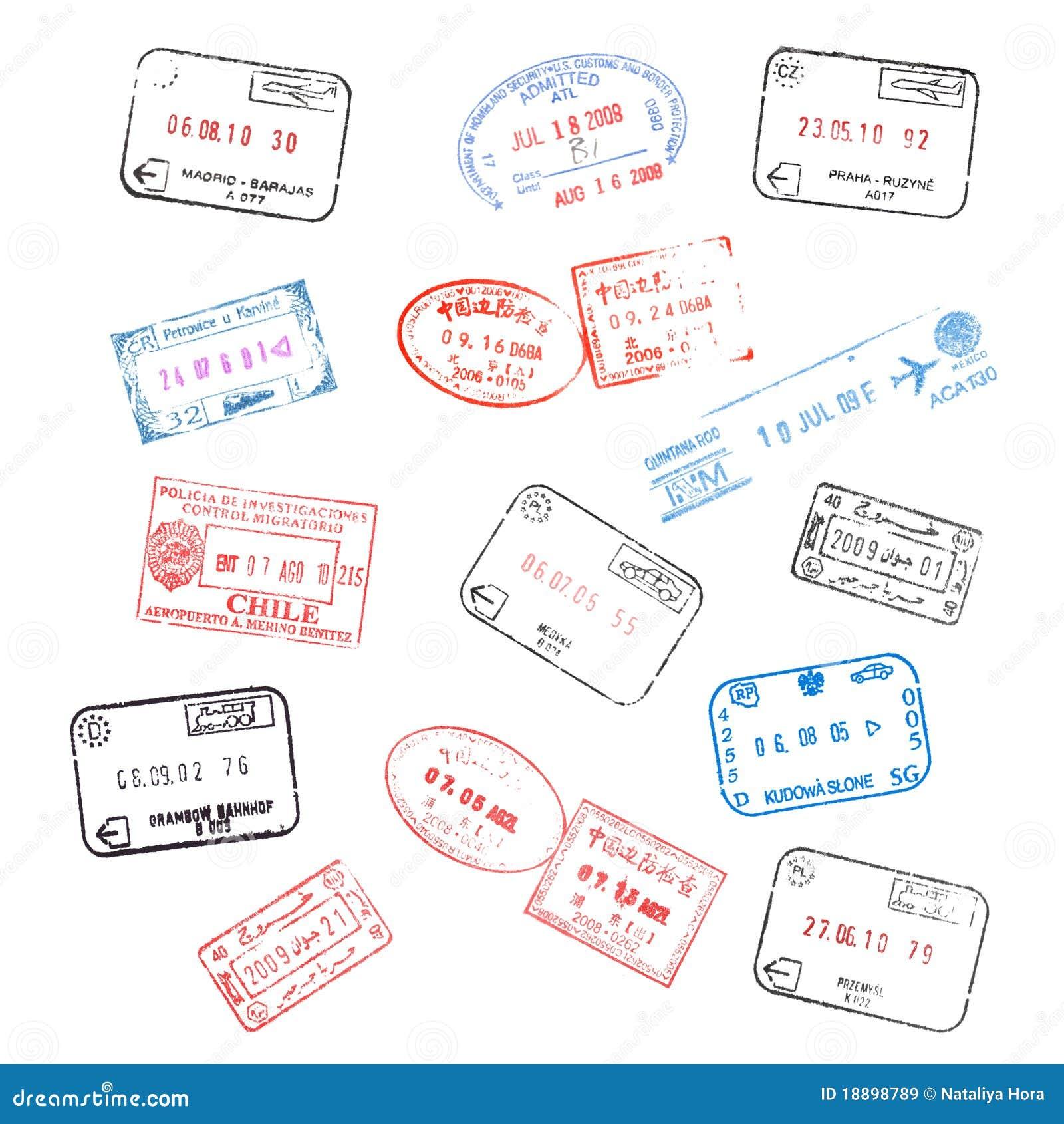Conjunto de sellos de visa del pasaporte