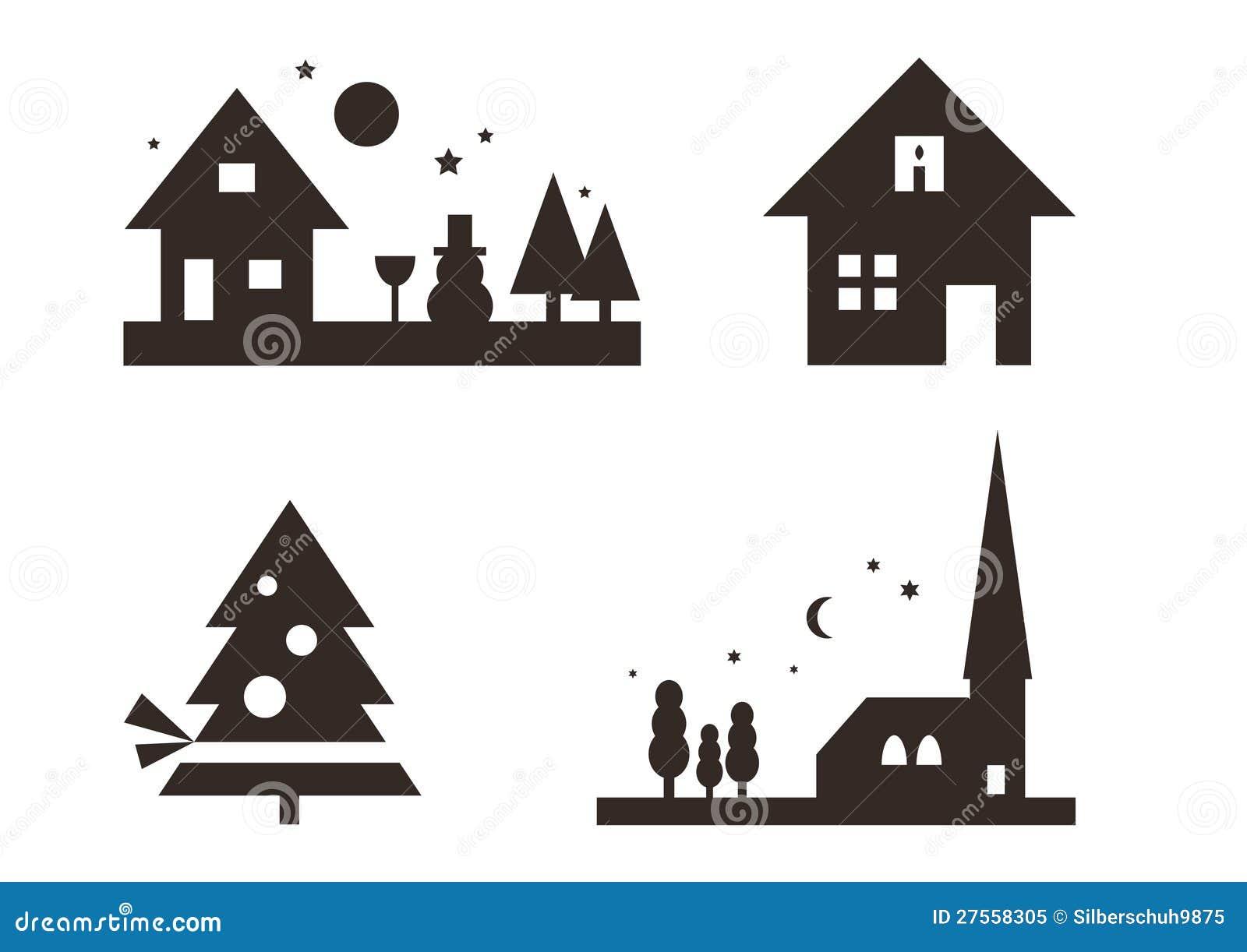 Conjunto de siluetas de la navidad foto de archivo libre - La casa de la navidad ...