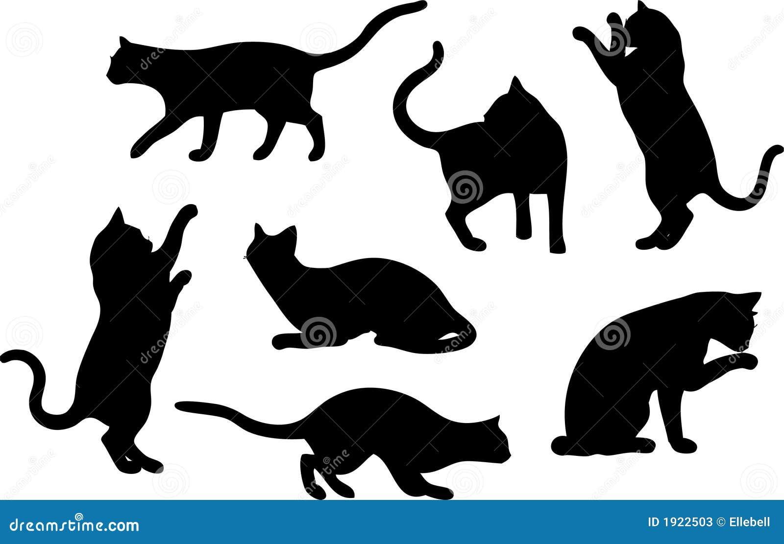 Conjunto de siluetas del gato