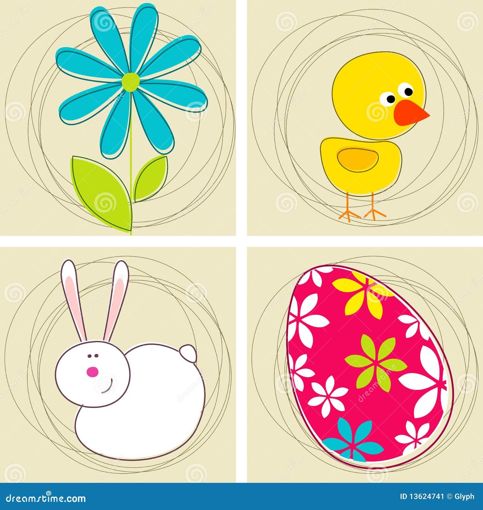Conjunto de tarjetas de felicitación lindas de Pascua