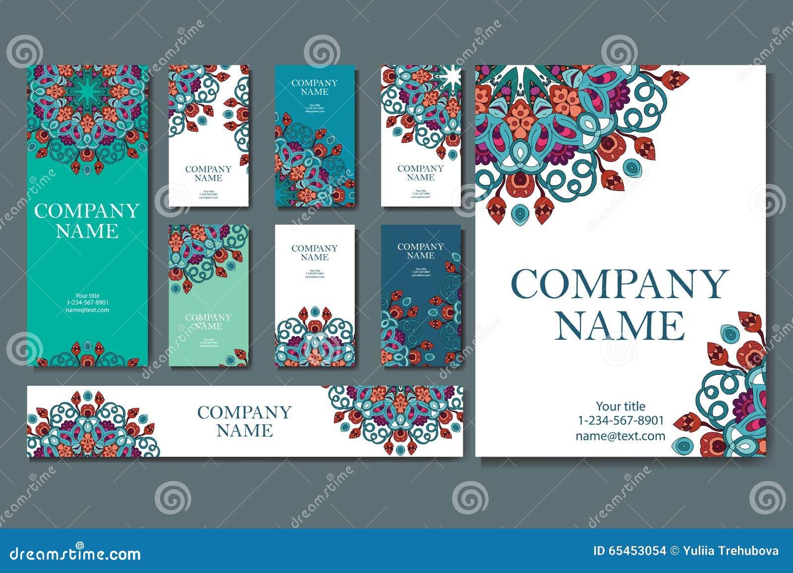 Conjunto de tarjetas de visita Modelo del vintage en estilo retro con la mandala Dé el Islam exhausto, árabe, indio, modelo del c