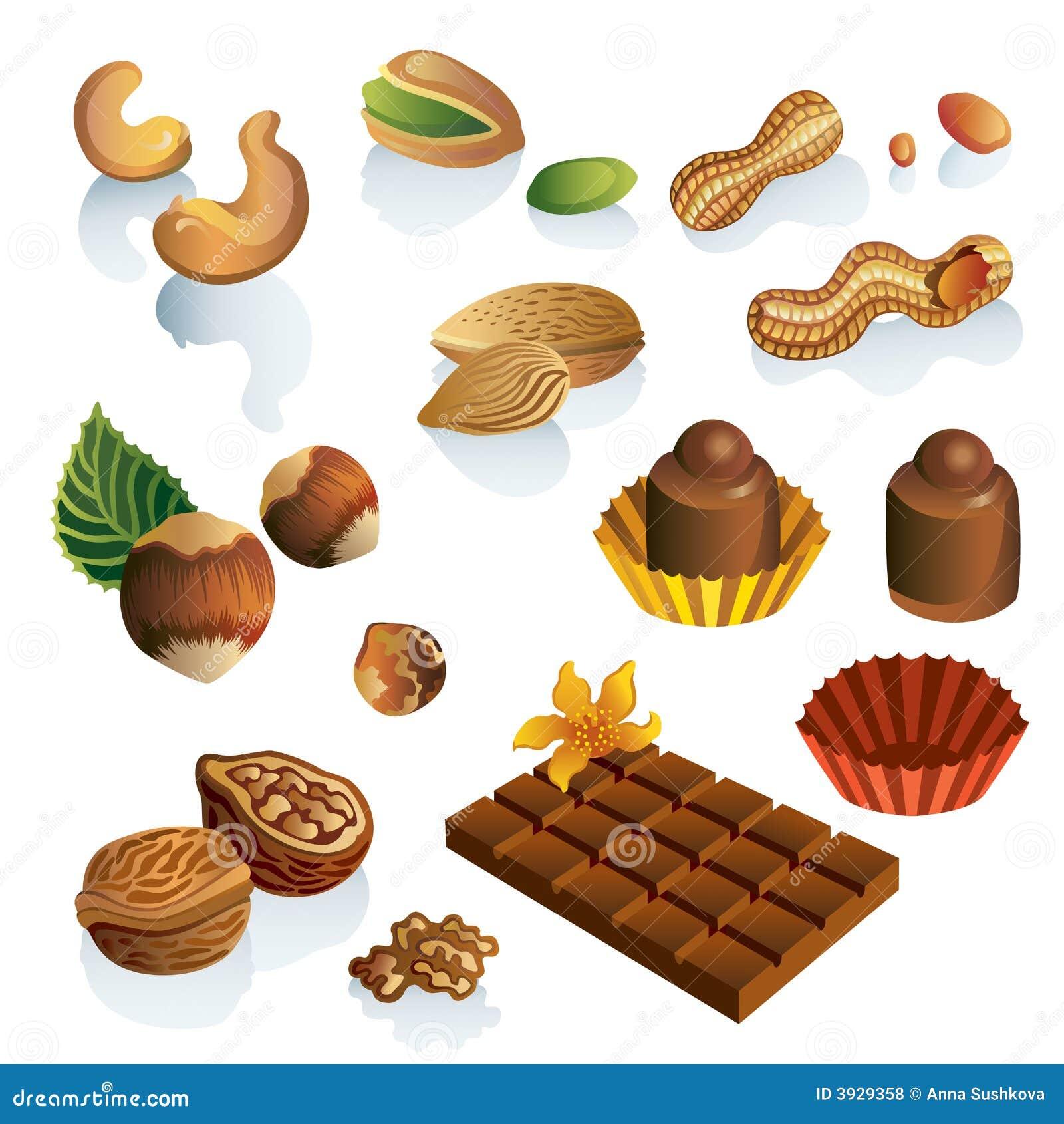 Conjunto de tuercas y de dulces del chocolate