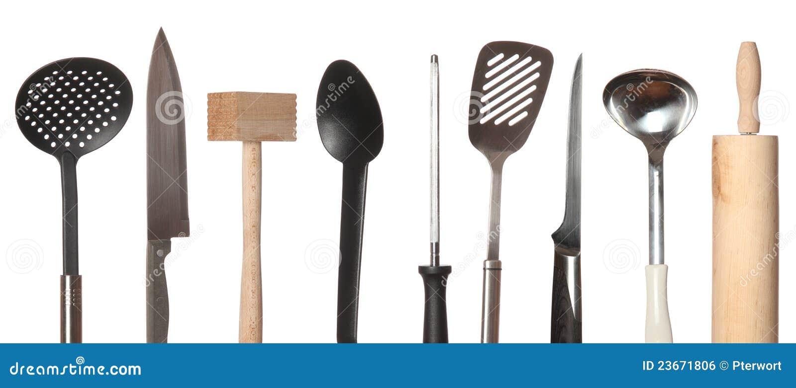 Conjunto de utensilios de cocina imagen de archivo libre for Utensilios cocina