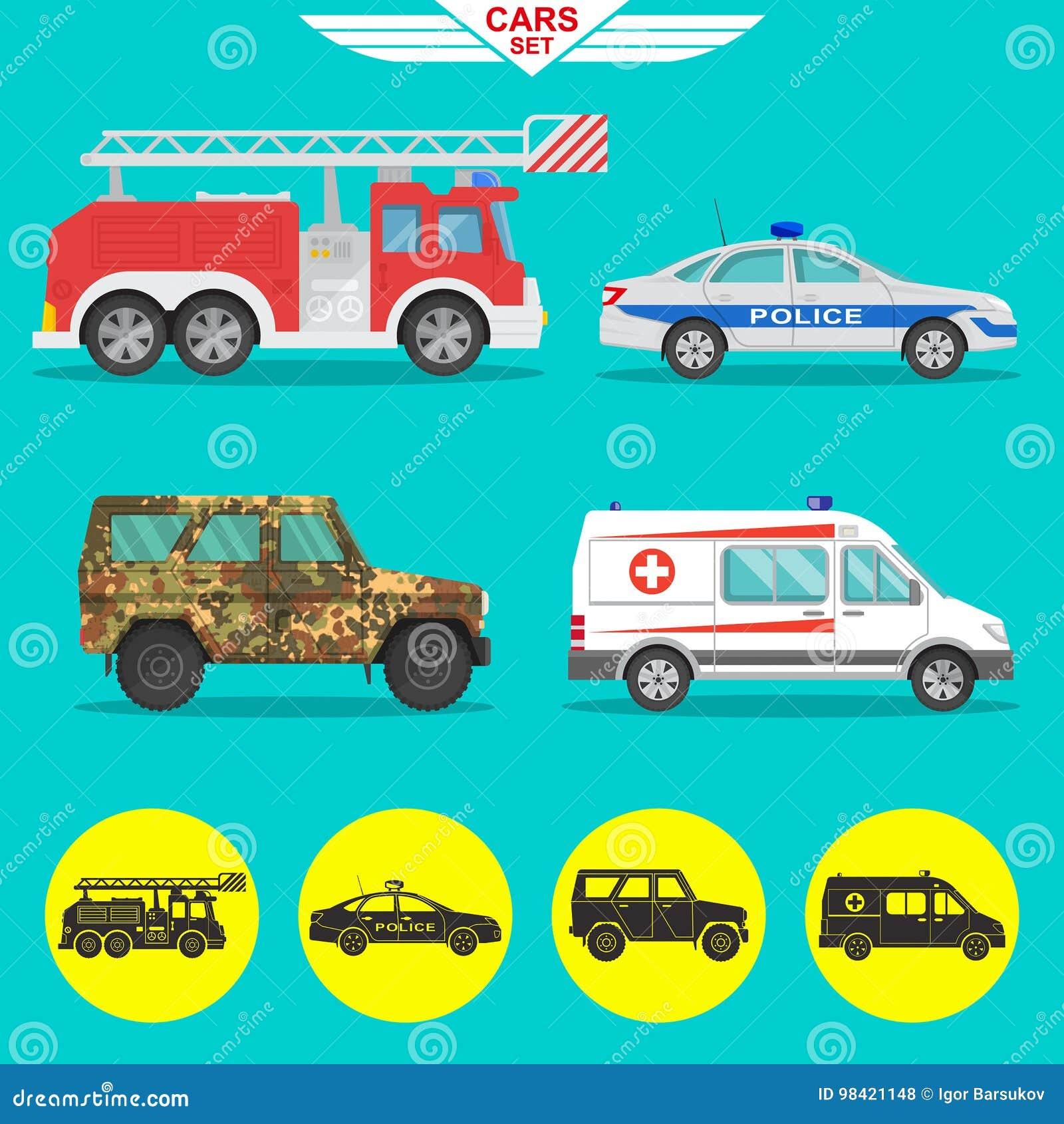 Conjunto de vehículos - coche, omnibus, alimentador