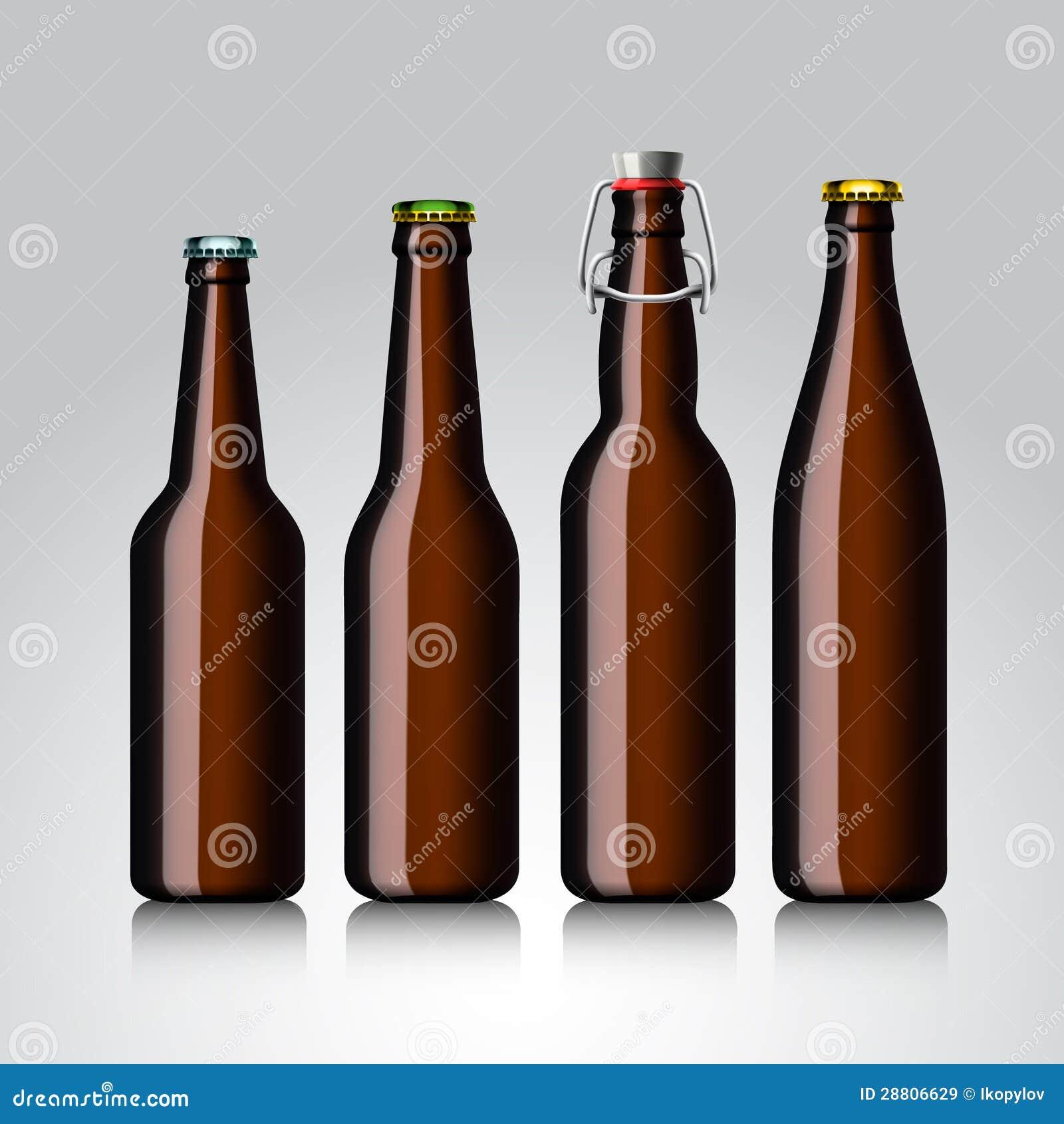 Conjunto del claro de la botella de cerveza sin escritura de la etiqueta
