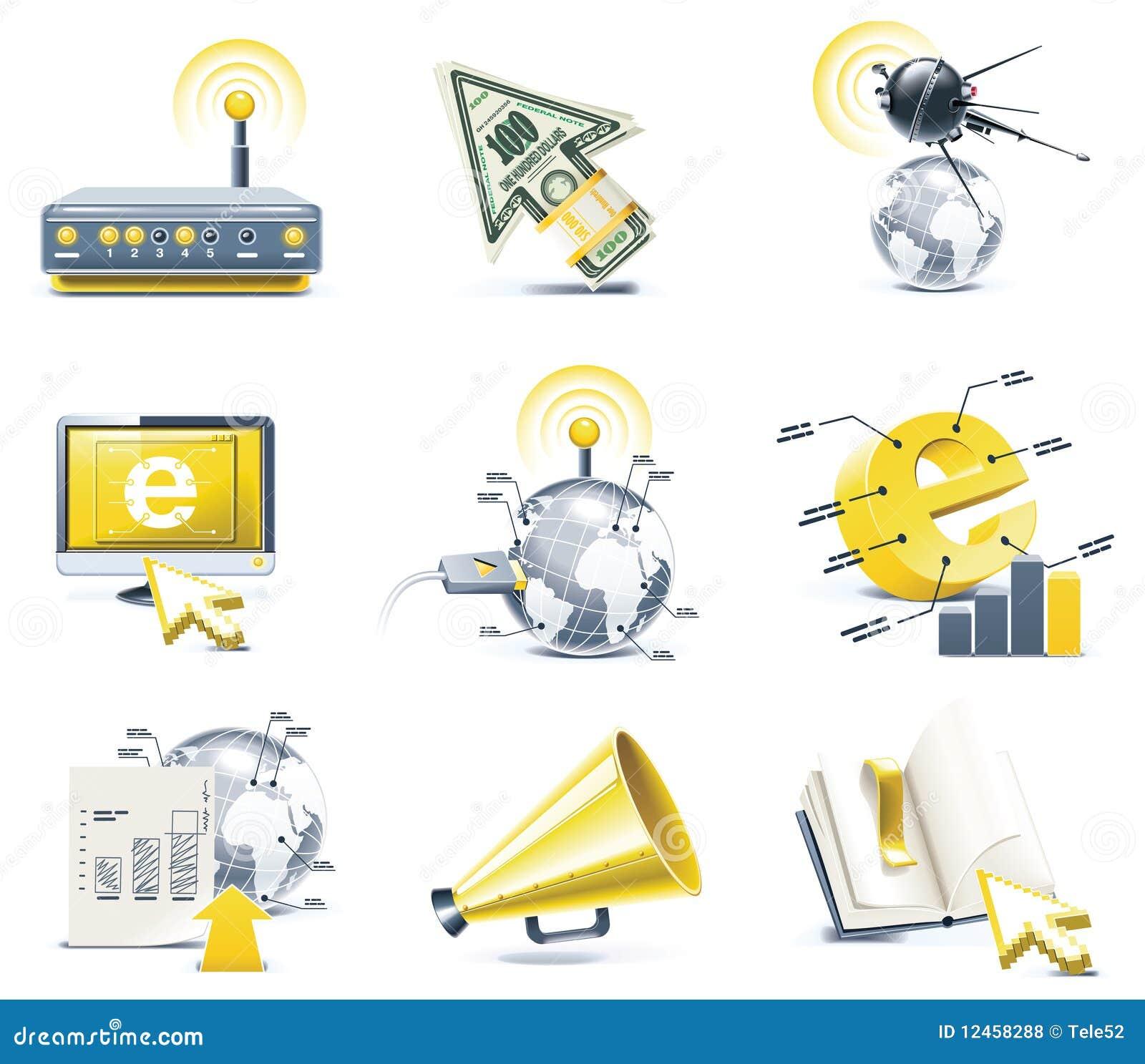 Conjunto del icono de la comunicación del vector. Internet, parte 1