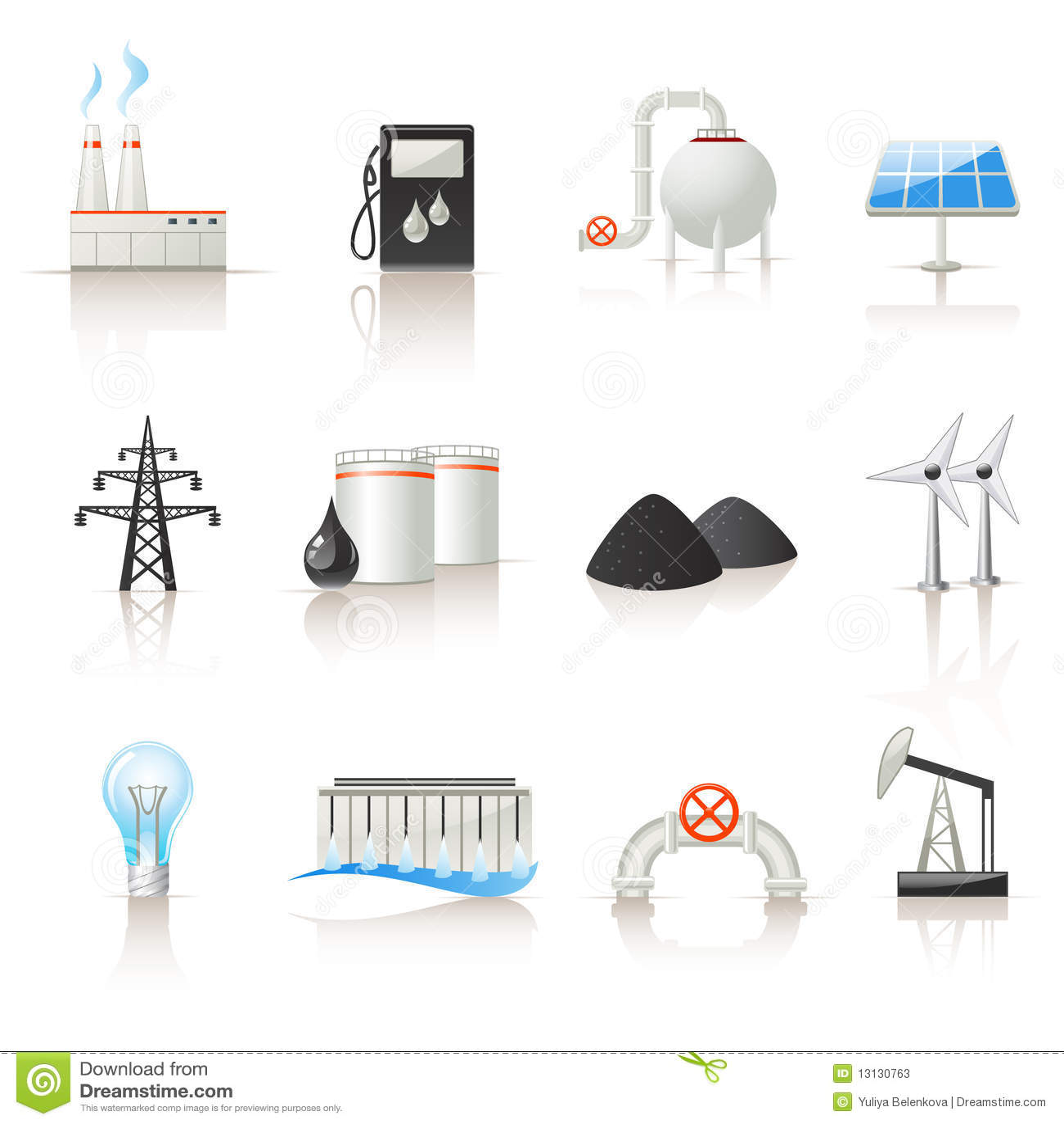 Conjunto del icono de la industria de potencia