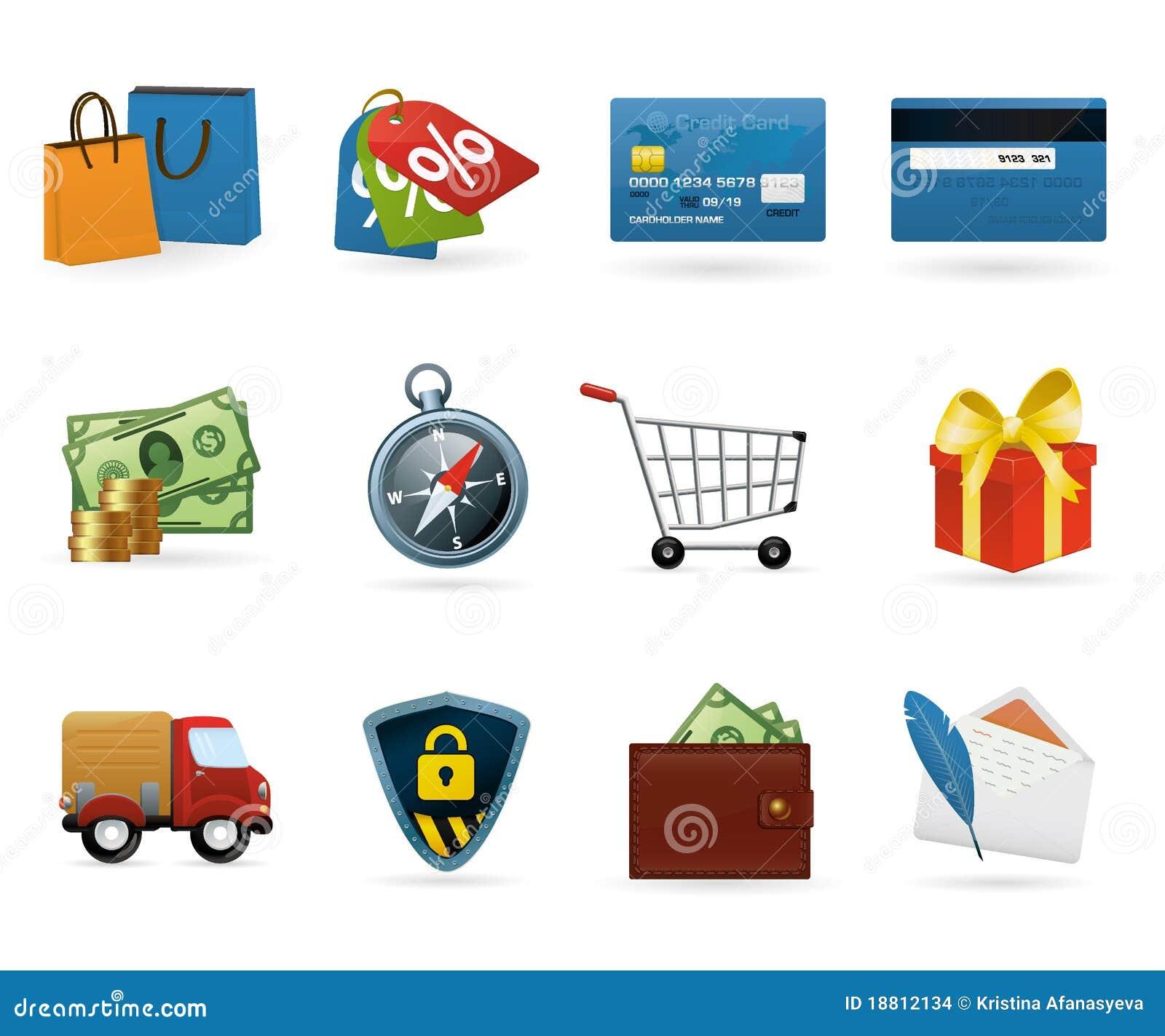 Conjunto del icono de las compras