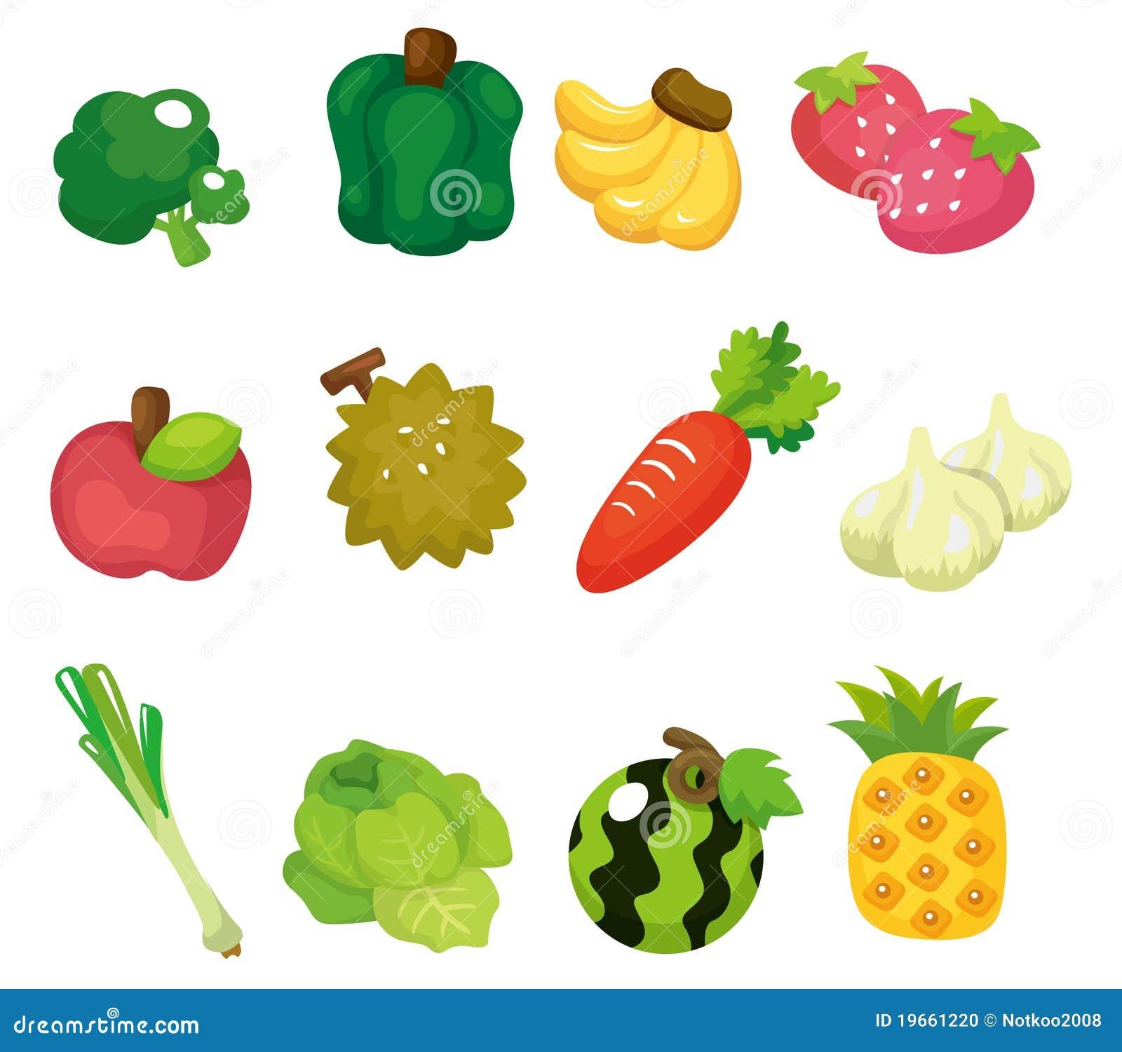 Conjunto del icono de las frutas y verdura de la historieta