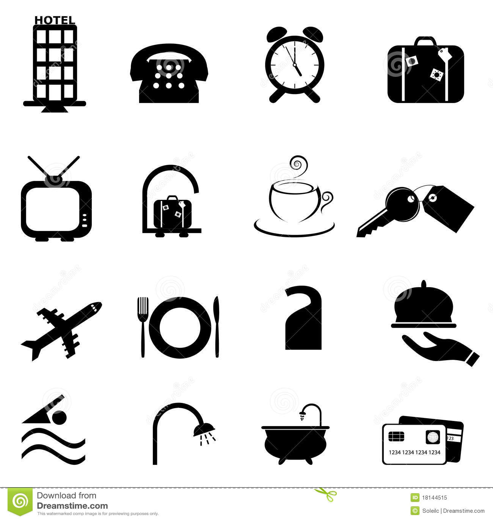 Conjunto del icono de los símbolos del hotel