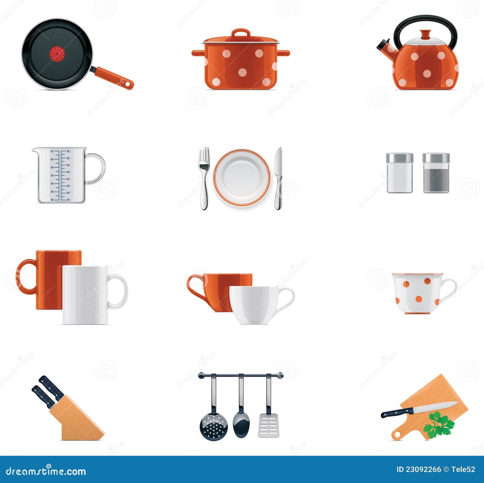Conjunto del icono de los utensilios de cocina imagen de for Utensilios de cocina nombres e imagenes