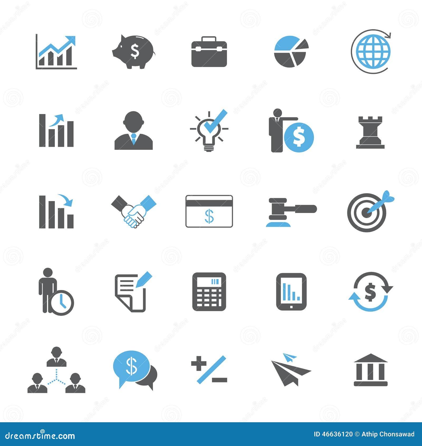 Conjunto del icono del asunto y de las finanzas