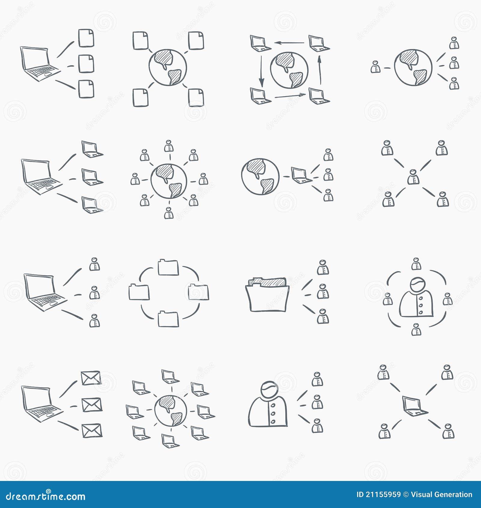 Conjunto del icono del bosquejo