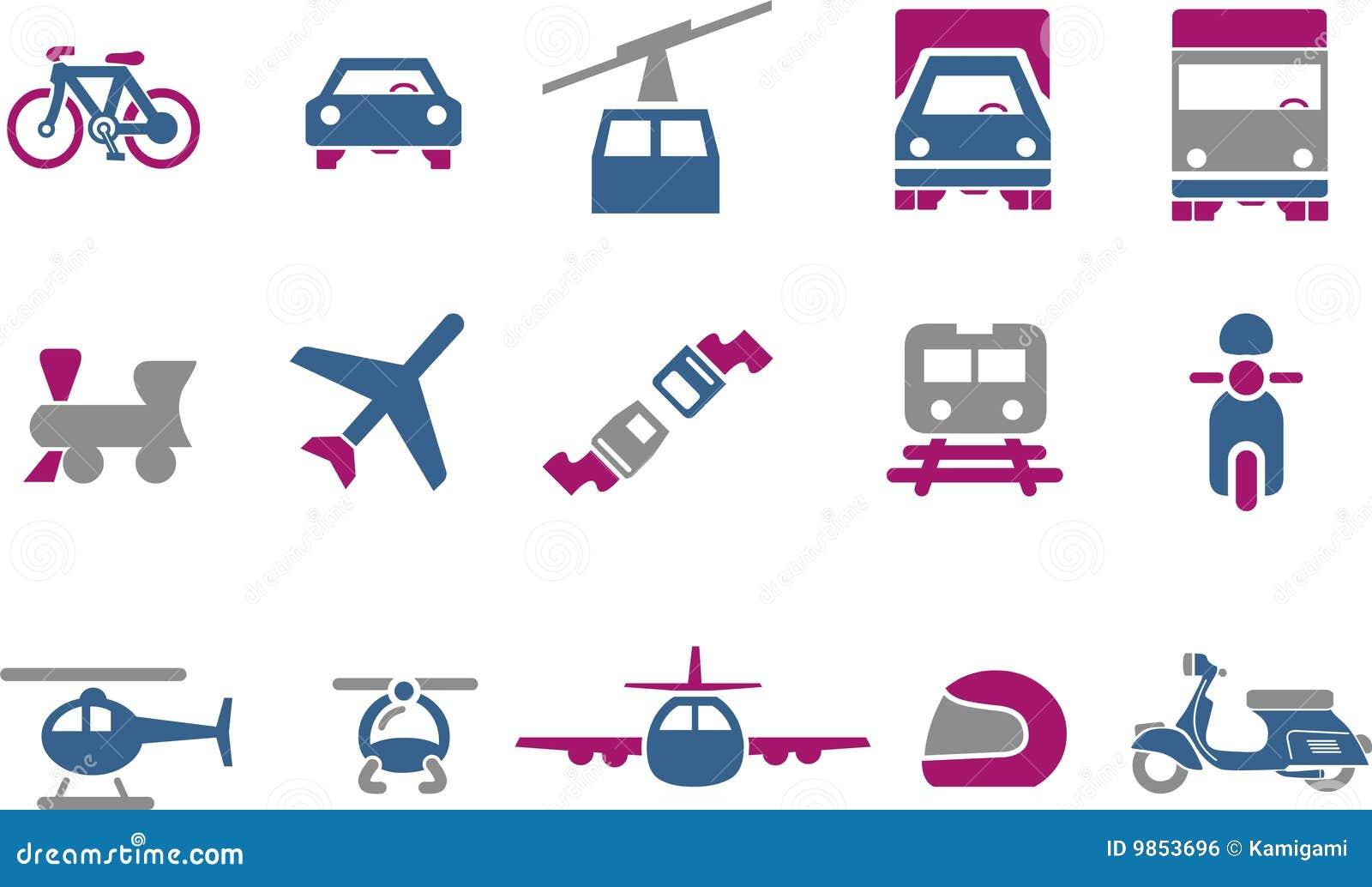 Conjunto del icono del transporte