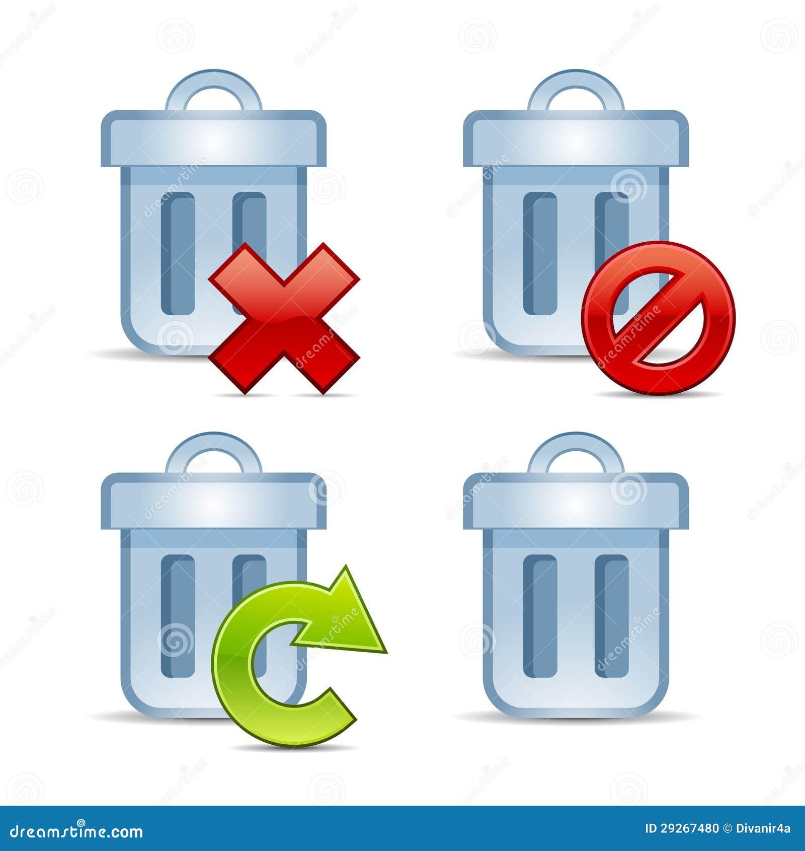 Conjunto del icono del vector de cubos de la basura