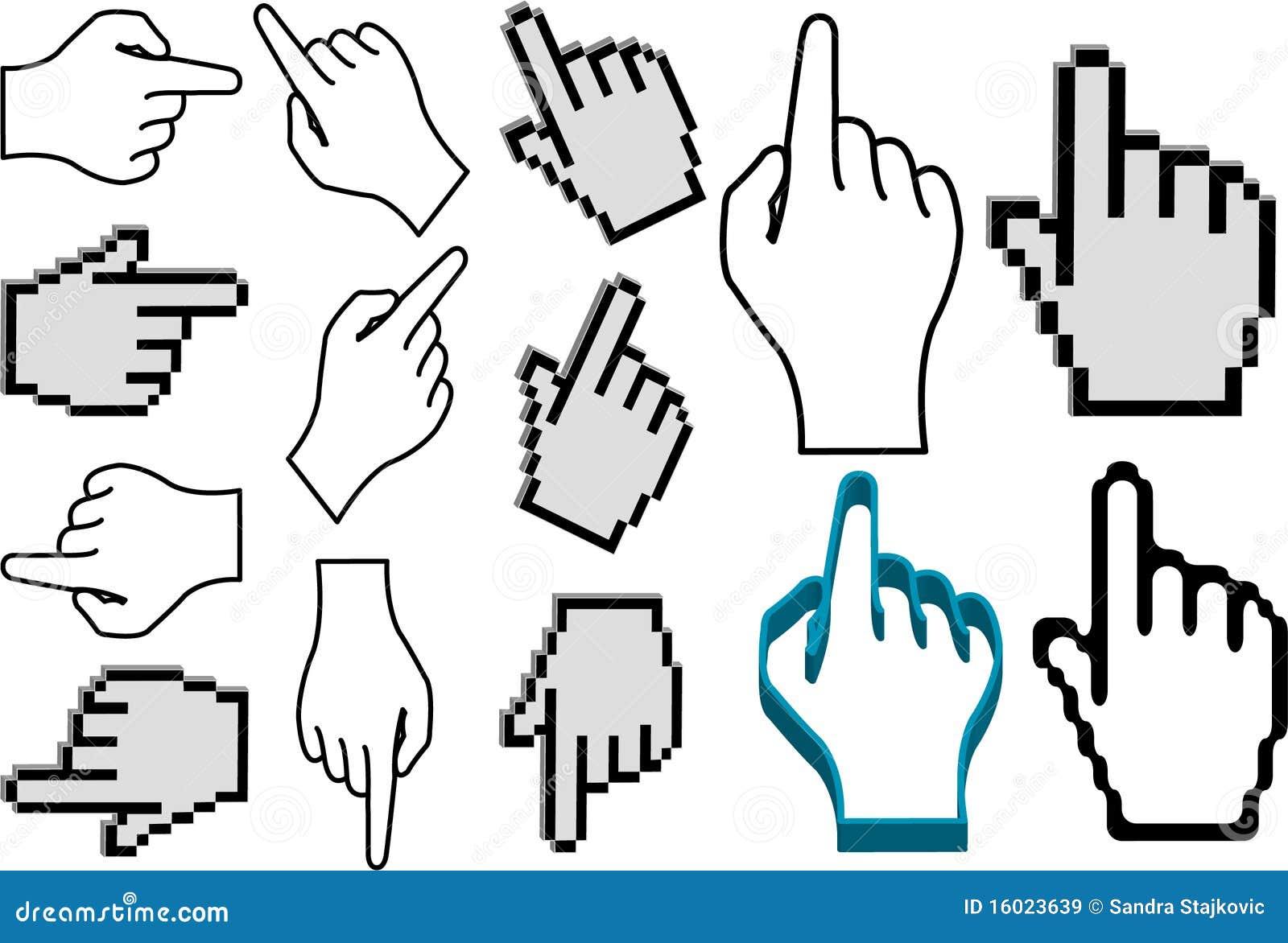 Conjunto del puntero de la mano
