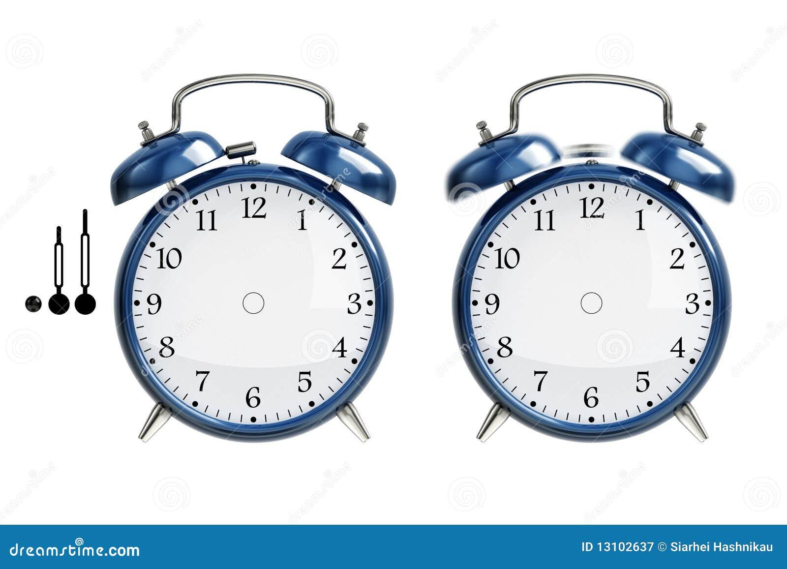 Conjunto del reloj de alarma azul