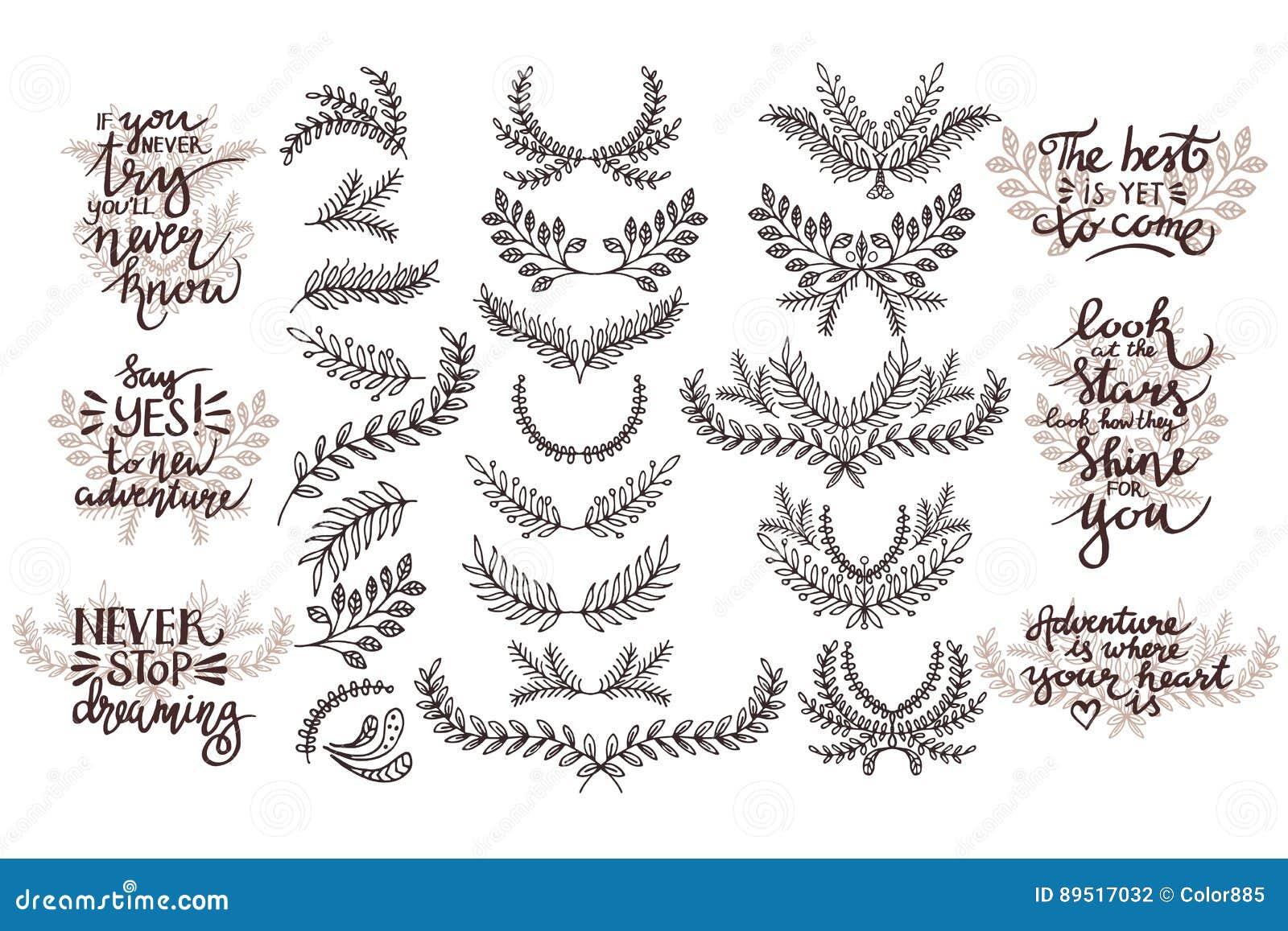 Conjunto Del Vector De Elementos Del Diseño Frases Temáticas