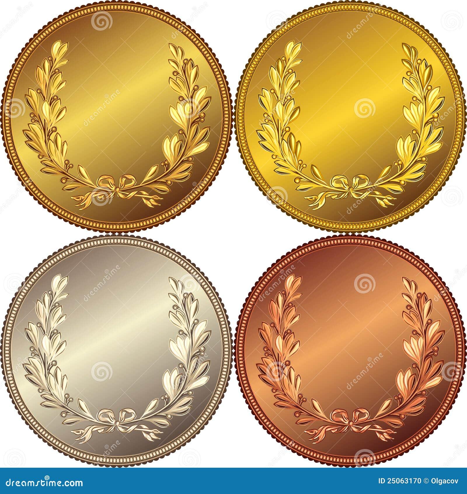 conjunto del vector de las monedas del oro  de la plata y sea vector seal victor #60954