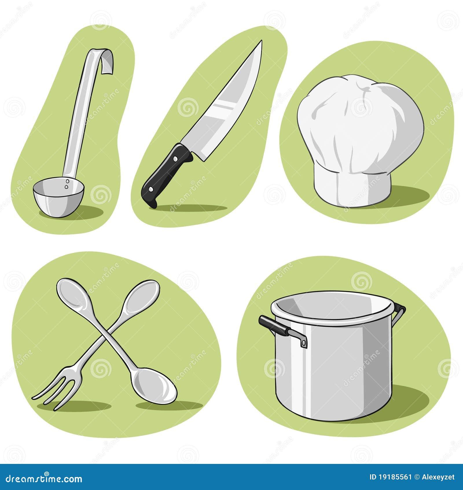 Conjunto del vector de utensilios de cocina ilustraci n for Cocina utensilios