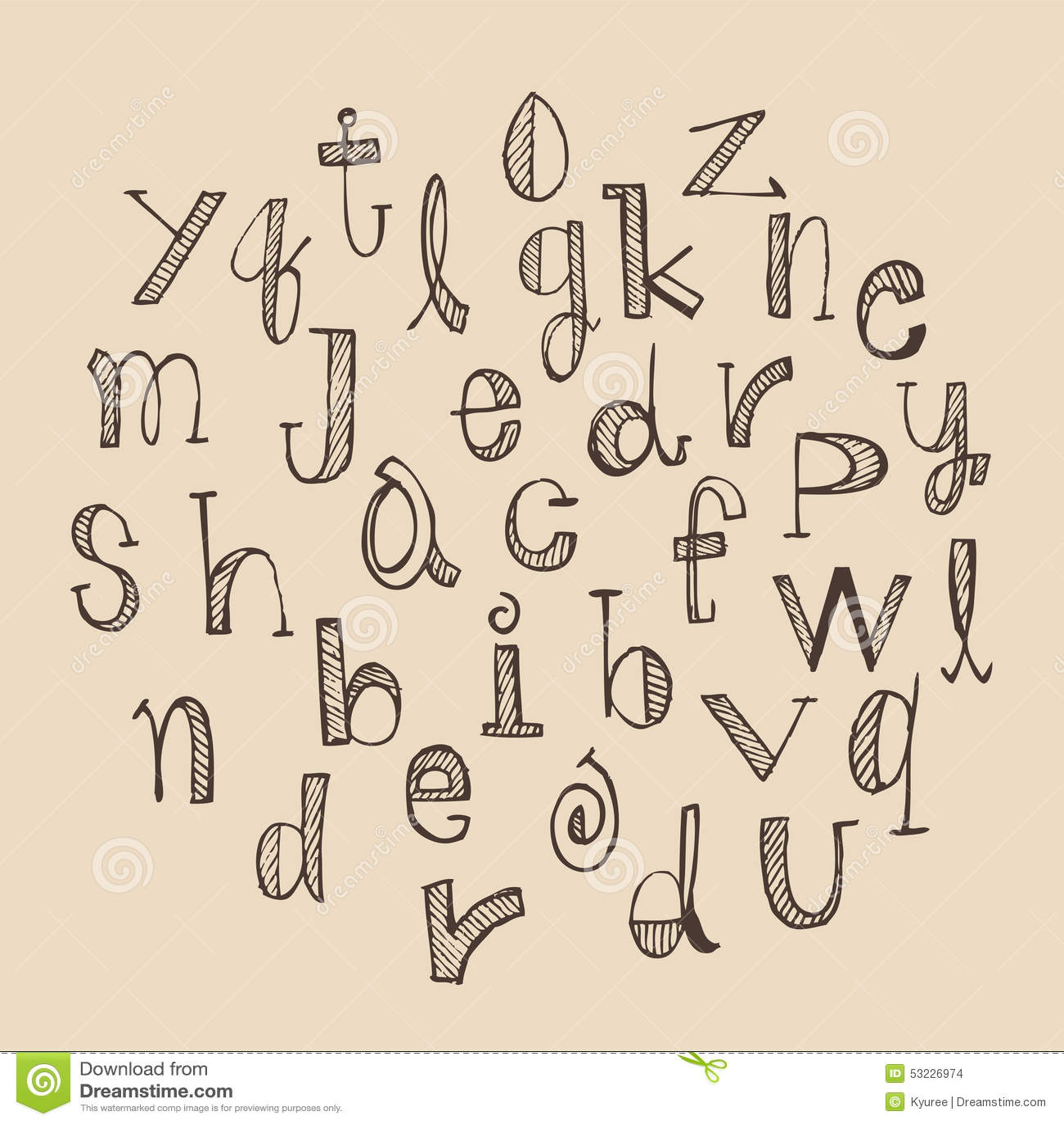 Conjunto drenado mano del alfabeto